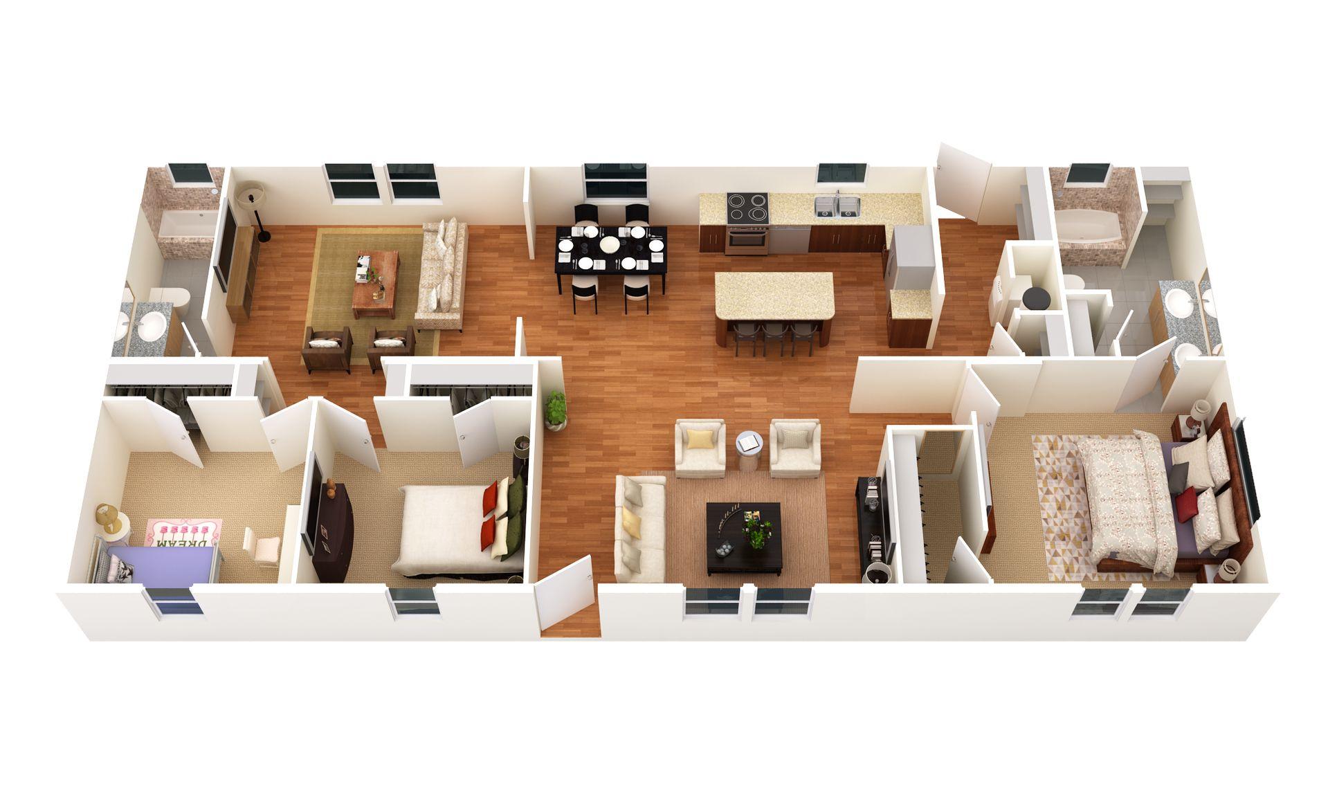 The Fredricksburg:3D Floor Plan