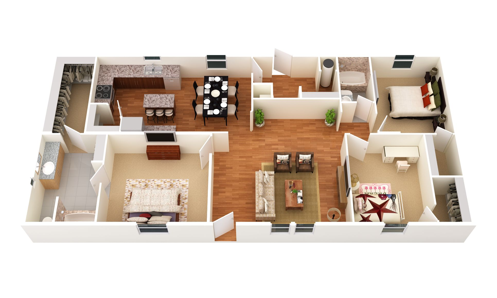 The Lariat:3D Floor Plan