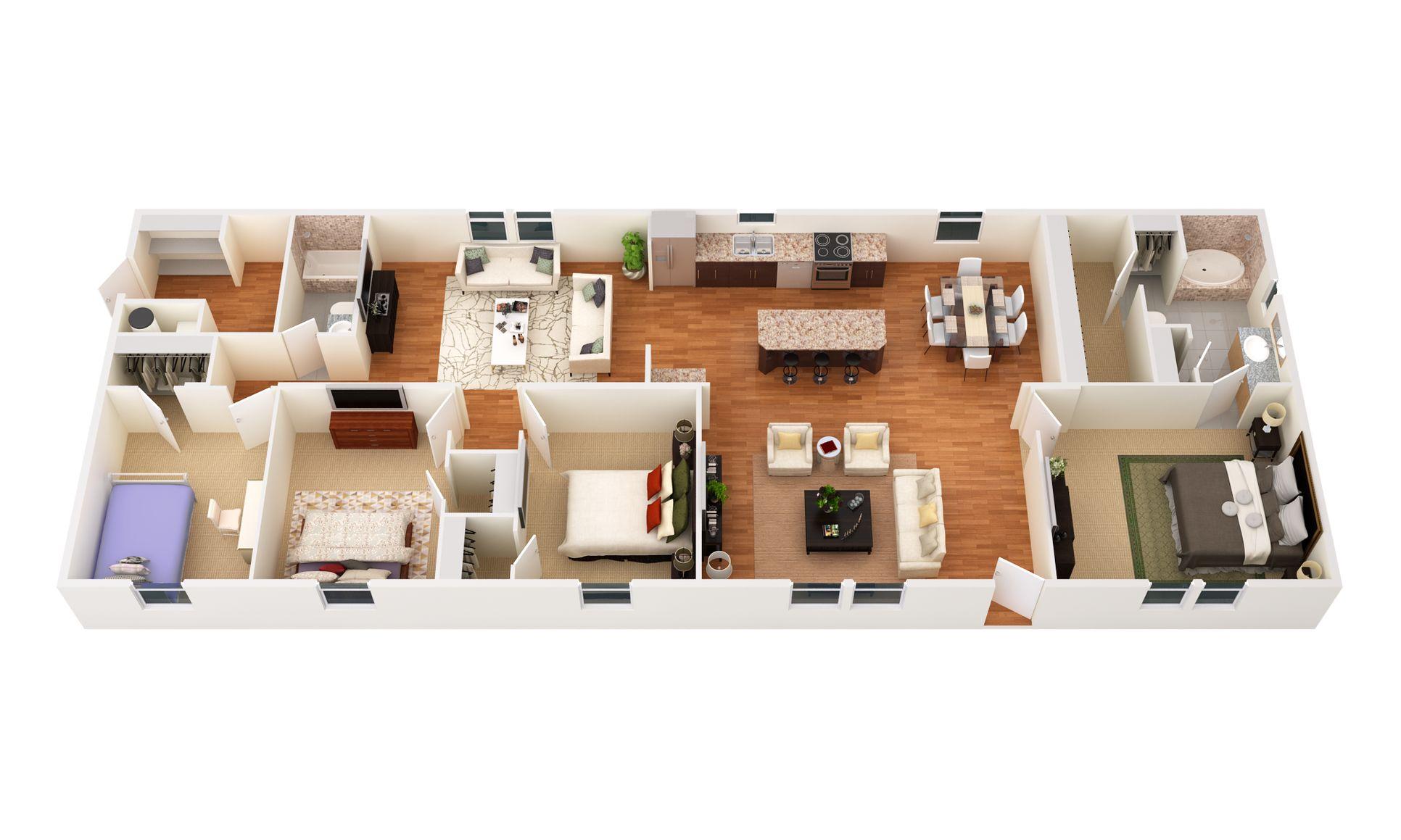 The Muskogee:3D Floor Plan