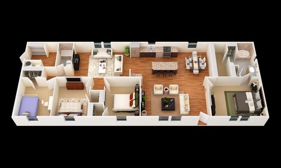 The Muskogee:3D Floor Plan