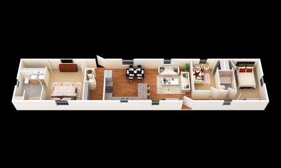 The Noxville:3D Floor Plan