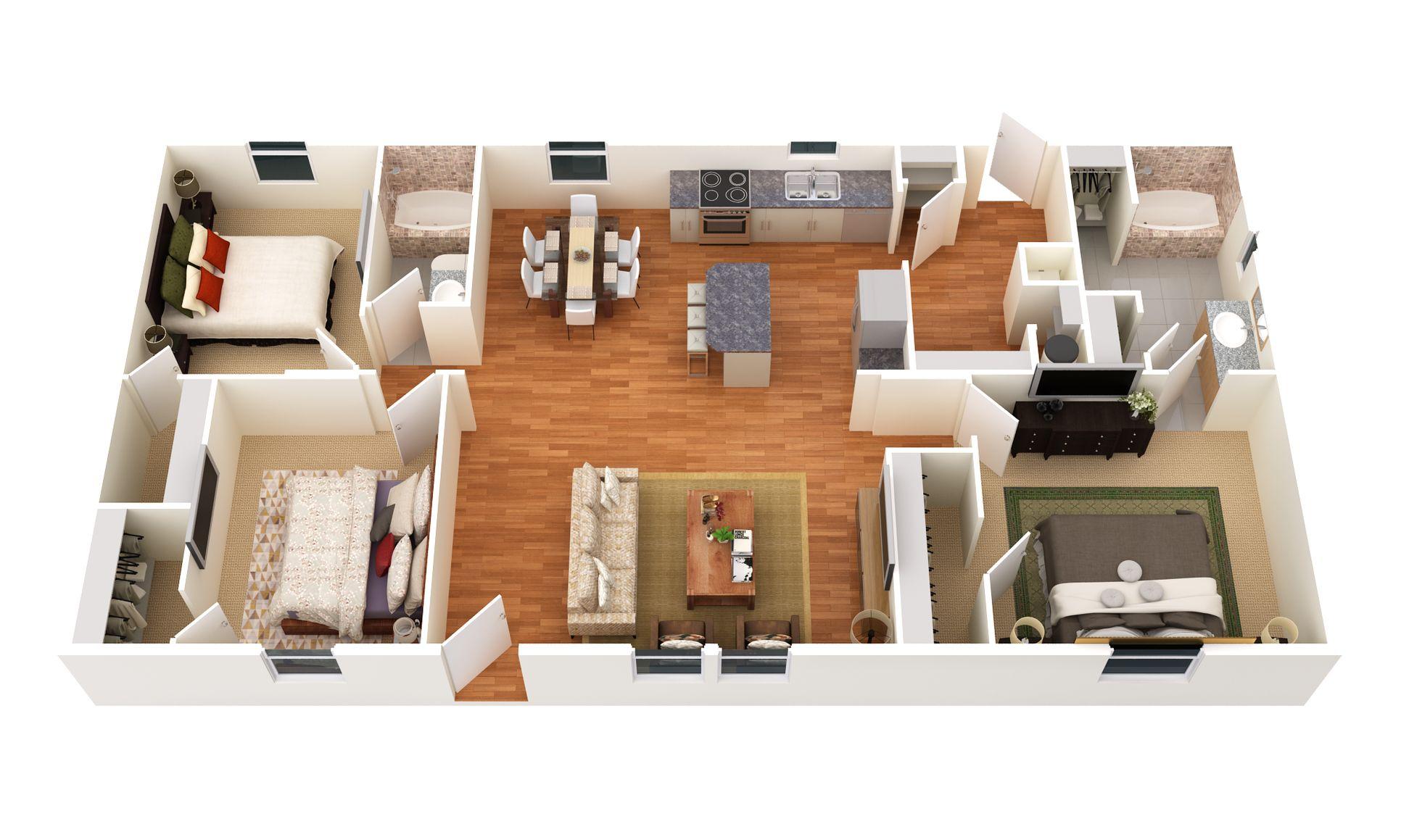 The Stillwater:3D Floor Plan