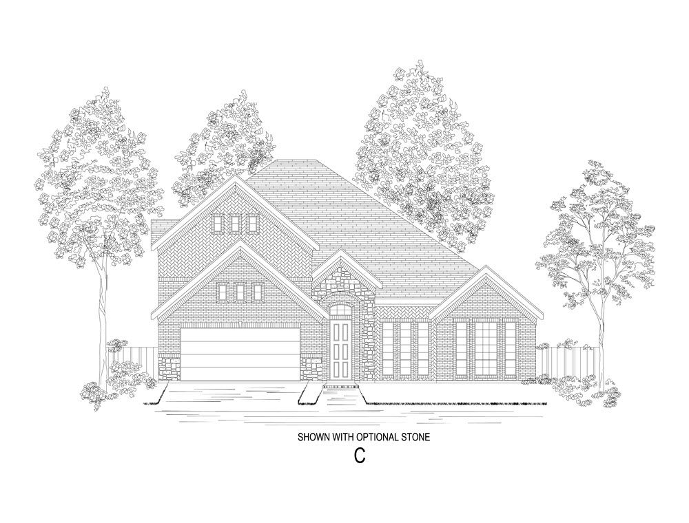 Elevation C:Shown with optional stone.