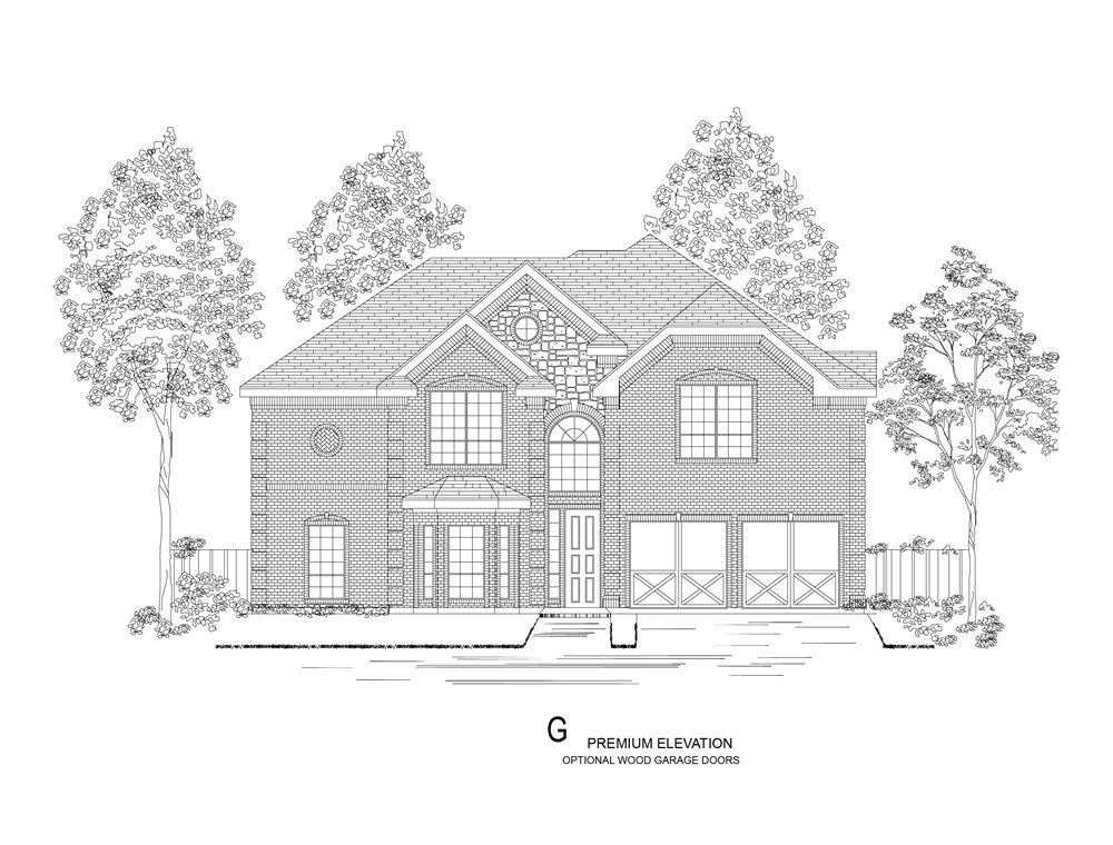 Elevation G:Premium Elevation - Shown with optional wood garage doors.