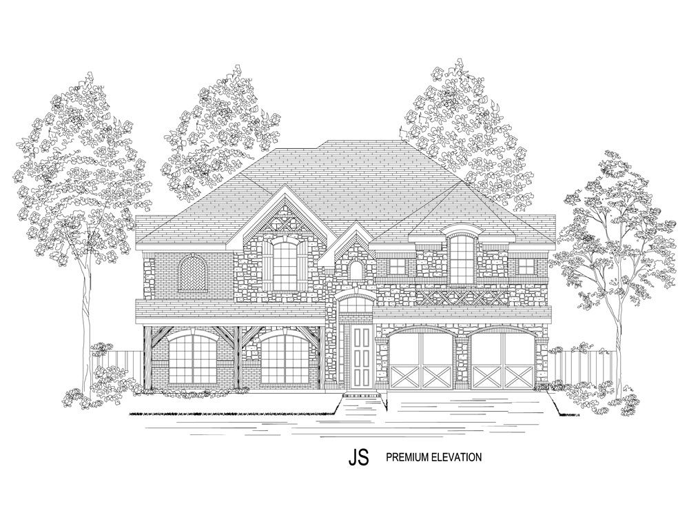 Elevation JS:Premium Elevation - Shown with optional wood garage doors.