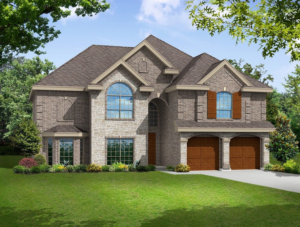 Elevation L:Premium Elevation - Shown with optional wood garage doors.