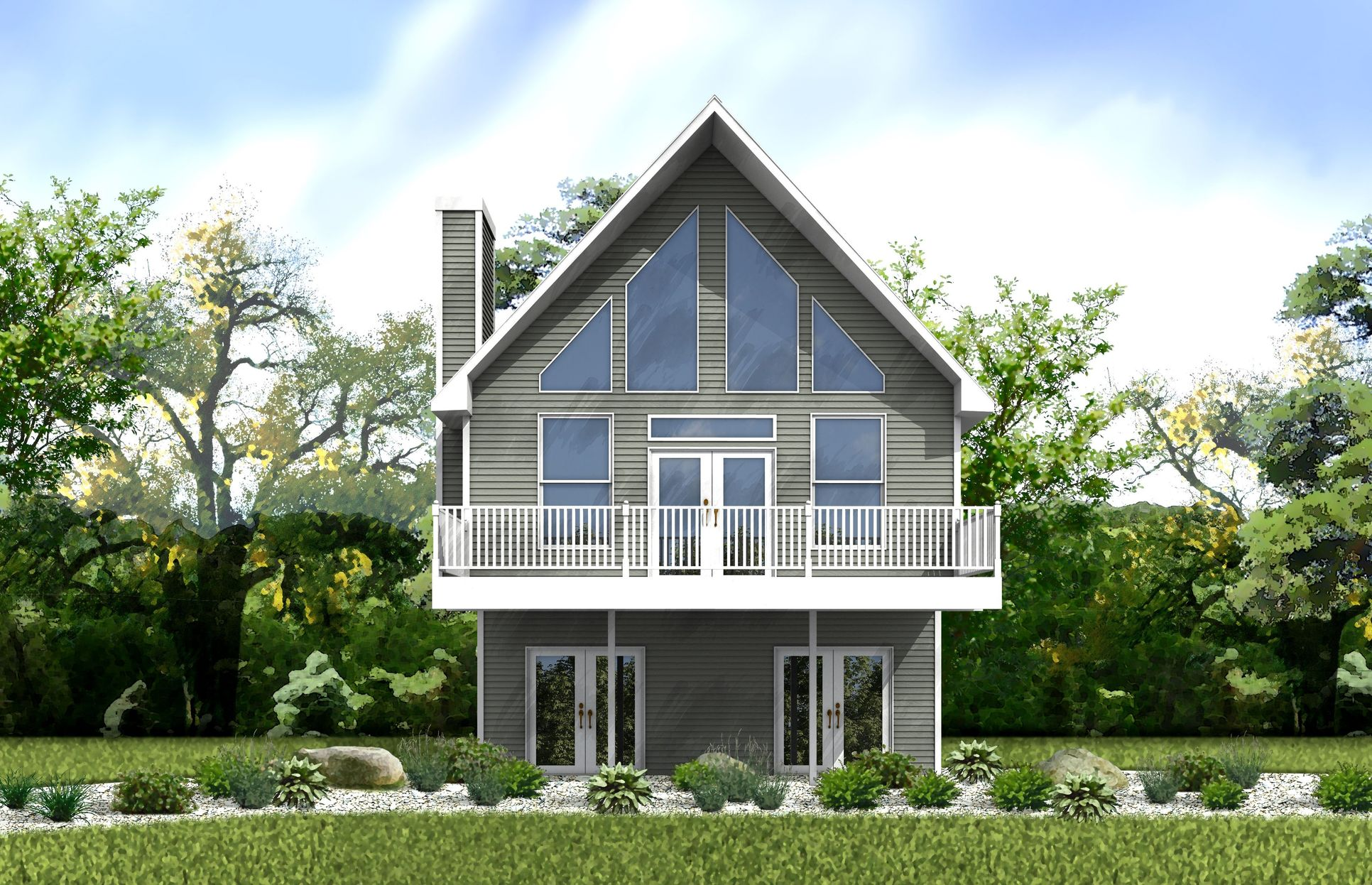 Delaware Rendering:Our Delaware model is a beautiful two story chalet home that allows lots of natural light!