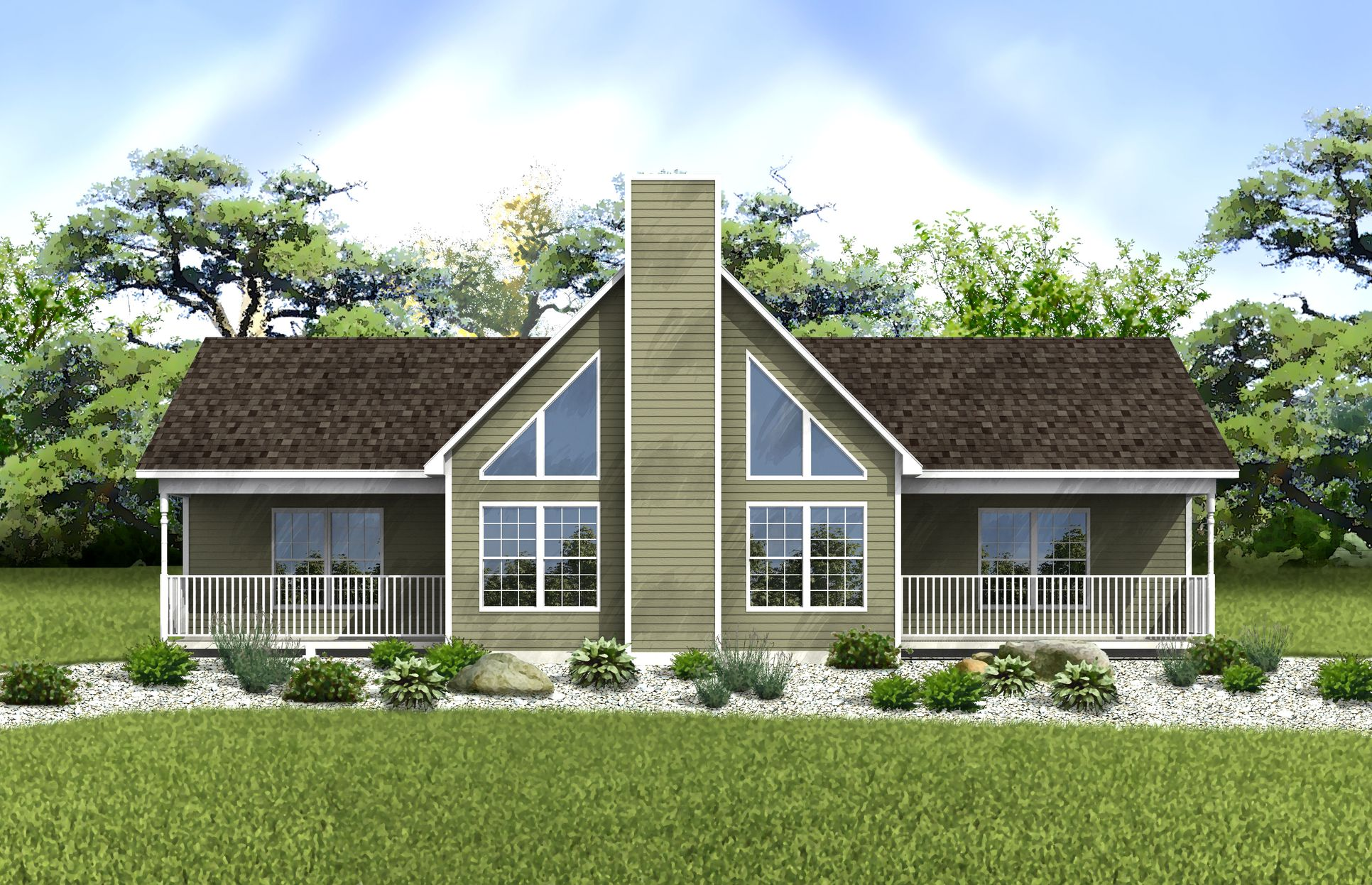 Lackawaxen Rendering:Our Lackawaxen model is a beautiful single story chalet home, perfect for both vacationing and year round living!