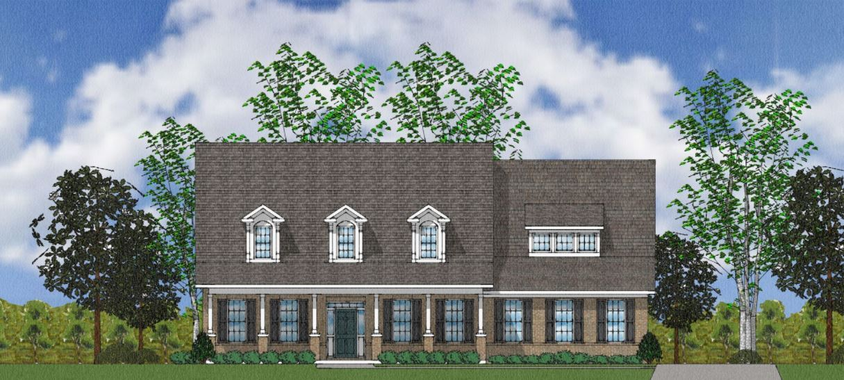 Exterior:The Holmes - Elevation A Side Entry - With Brick Columns