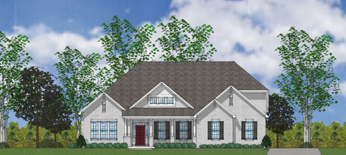 Exterior:The Holmes - Elevation B Side Entry - With Bonus Room and Brick Columns