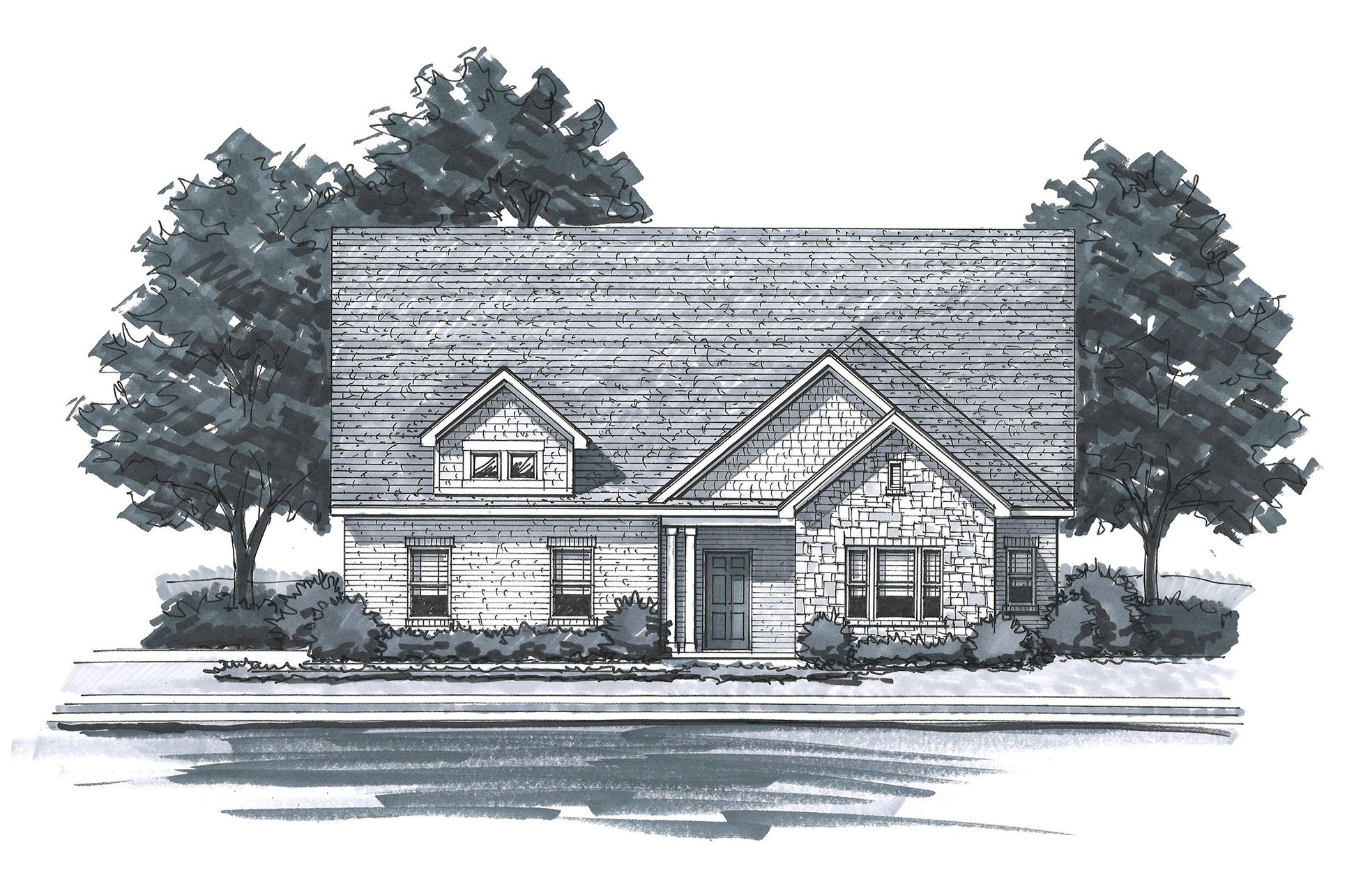 Exterior:The Acadia - Craftsman 1 Side Entry