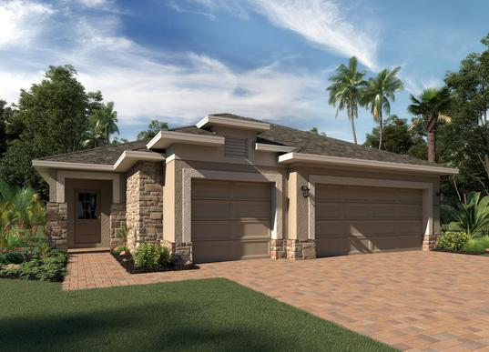 Elevation 1 - Shown with Optional Stone:Delano Floor Plan |  Hanover Family Builders