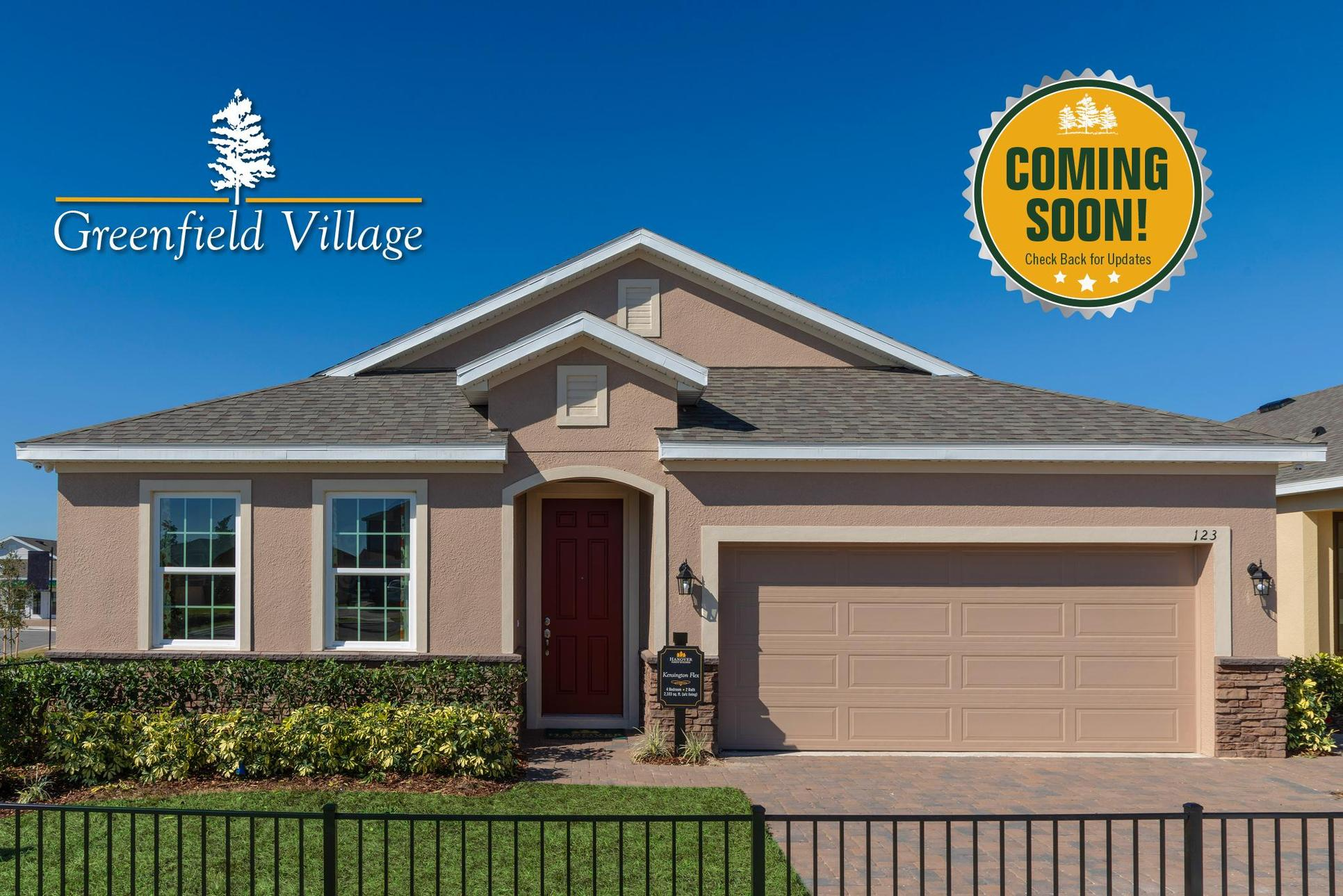 Now Selling Nearby First Place!:Greenfield Village homesites available soon!