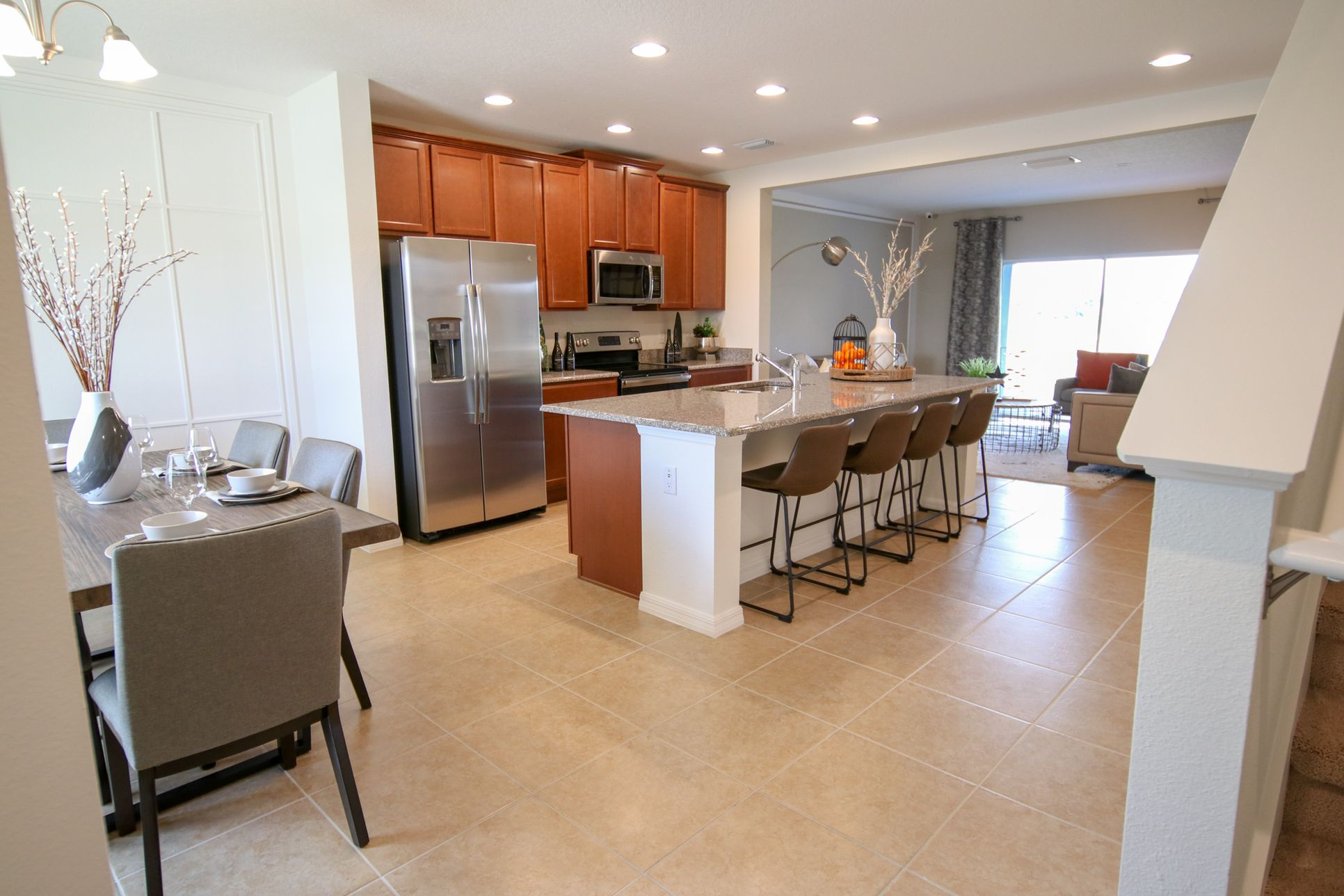 Entry into Home - Dining, Kitchen:Paige Townhome Floor Plan  |  Hanover Family Builders