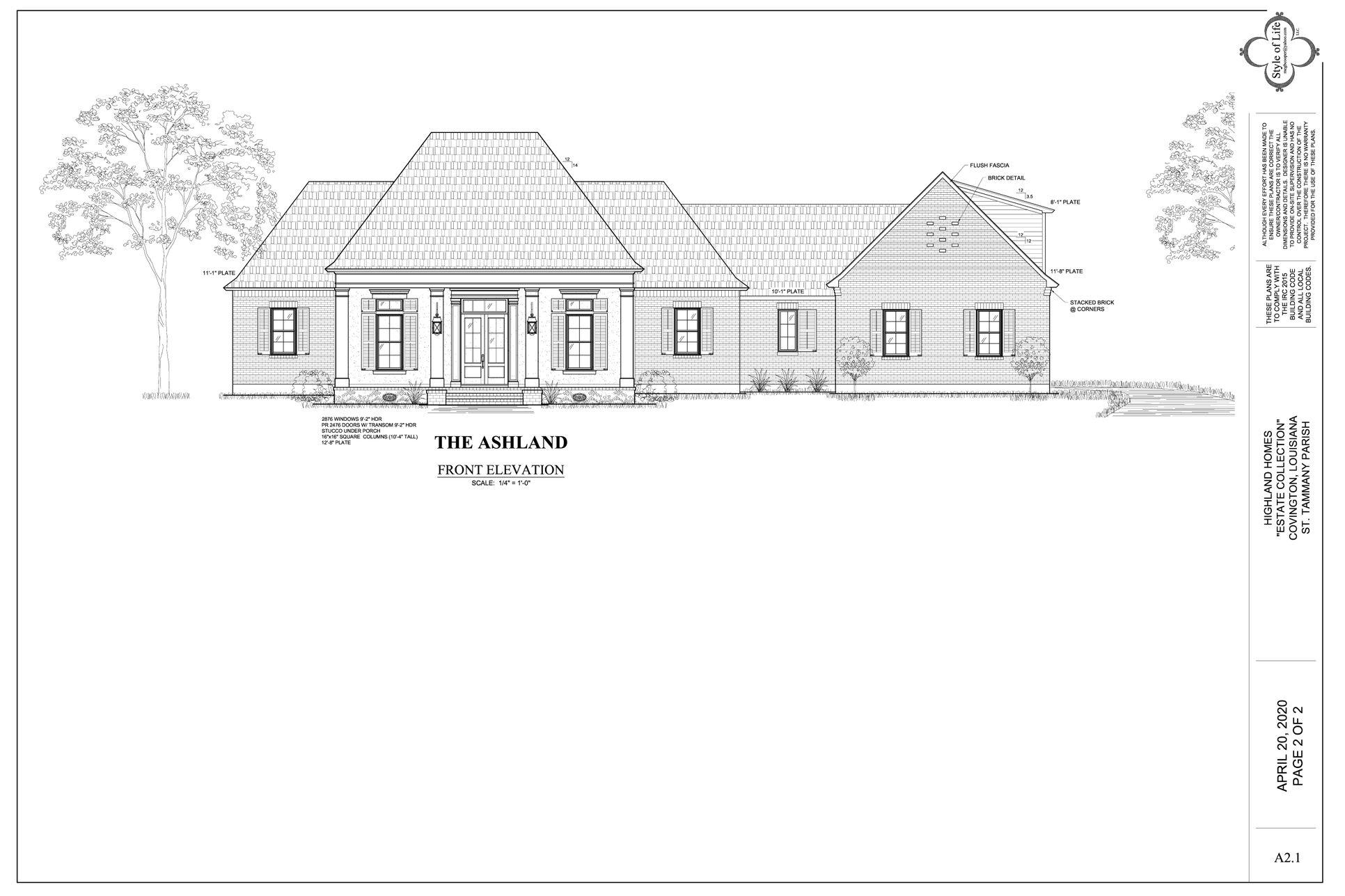 The Ashland - Highland Homes:Front Elevation