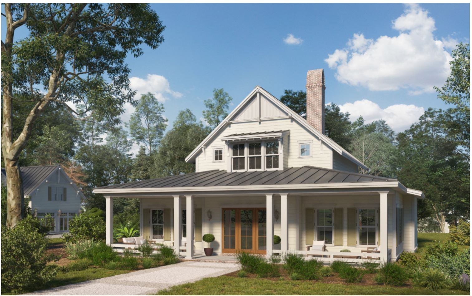 The Lowcountry:Front Elevation