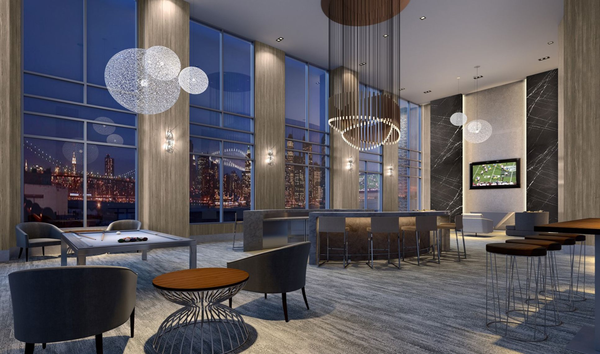 Nine Residents Lounge Jersey City NJ New Homes
