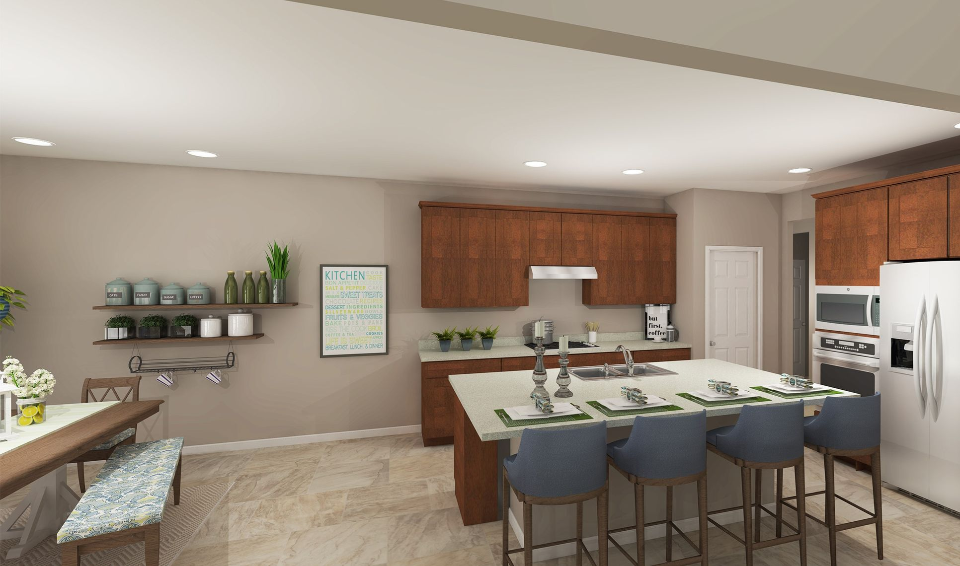 Interior:Expansive kitchen and dining area