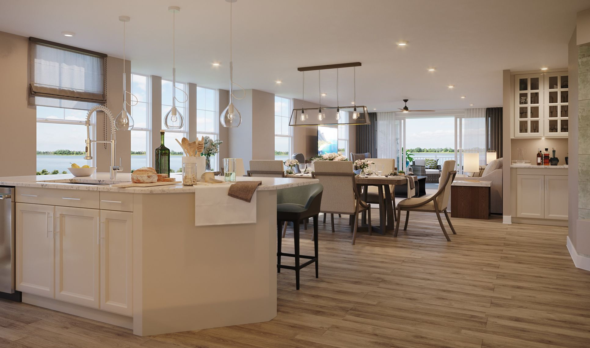 Interior:Kitchen flowing into great room