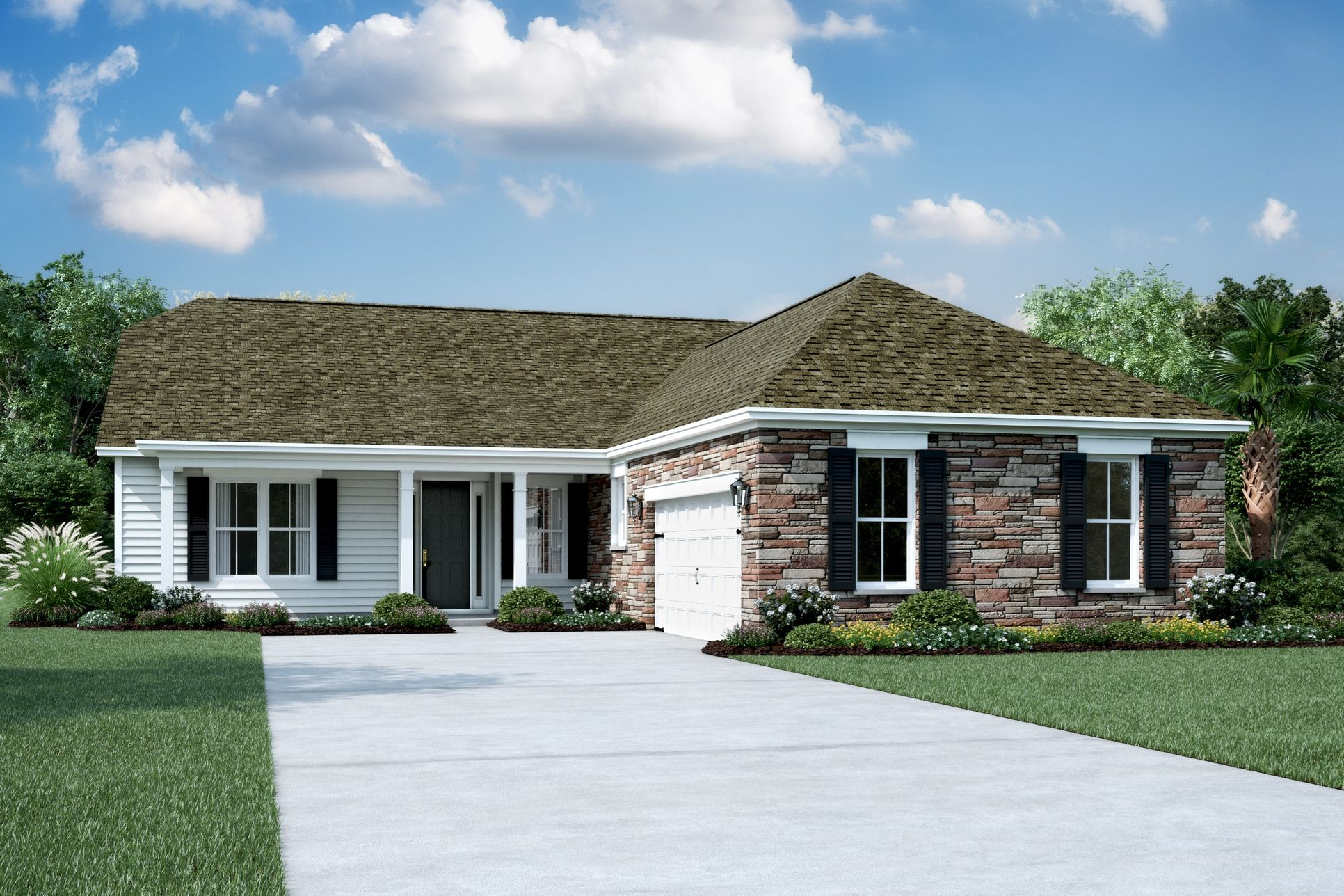 Exterior:Elevation F - Shown with Opt. Stone
