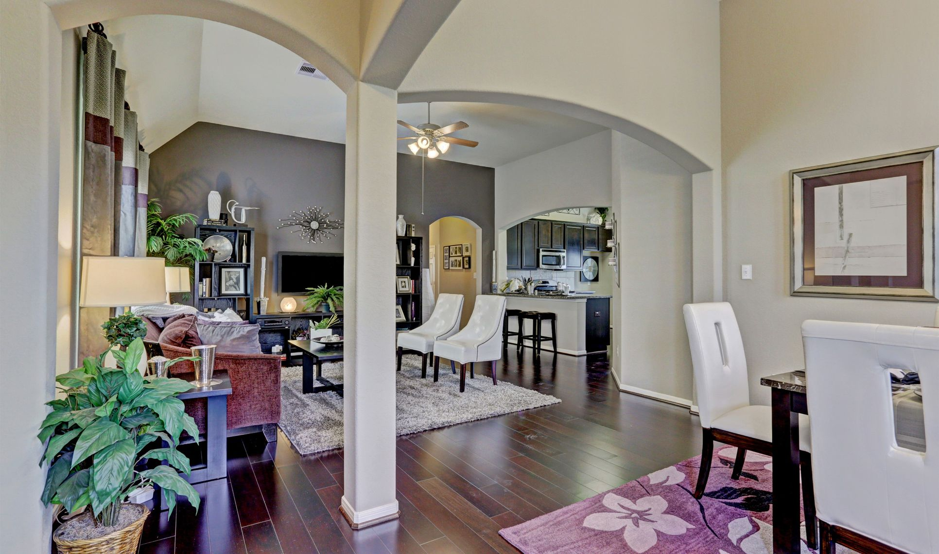 Interior:Open dining and family room