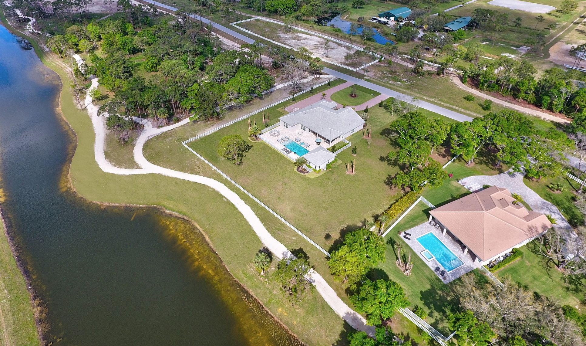 lot 7 and 8 aerial at reynolds ranch new homes in jupiter florida