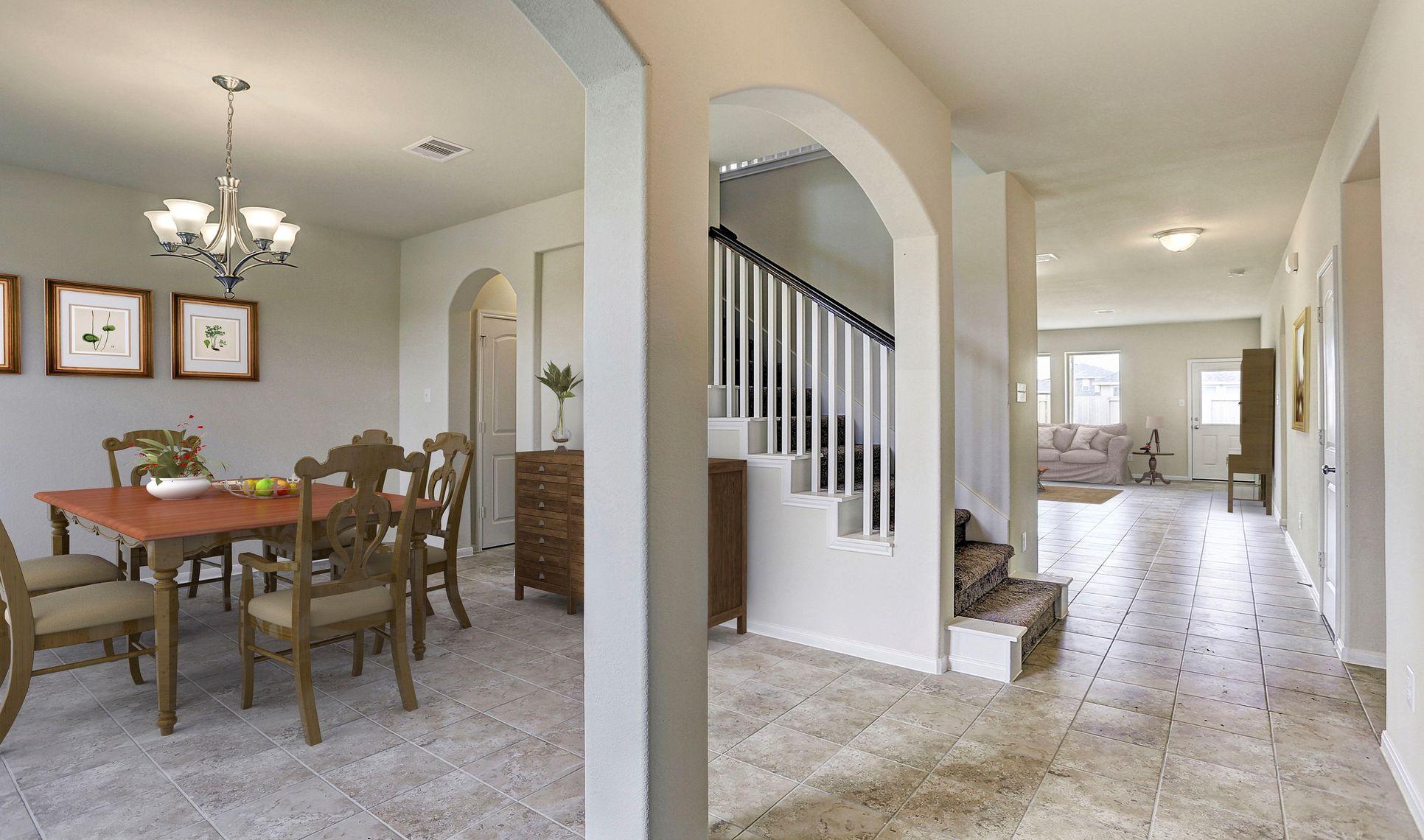 Interior:Dining room tucked off foyer