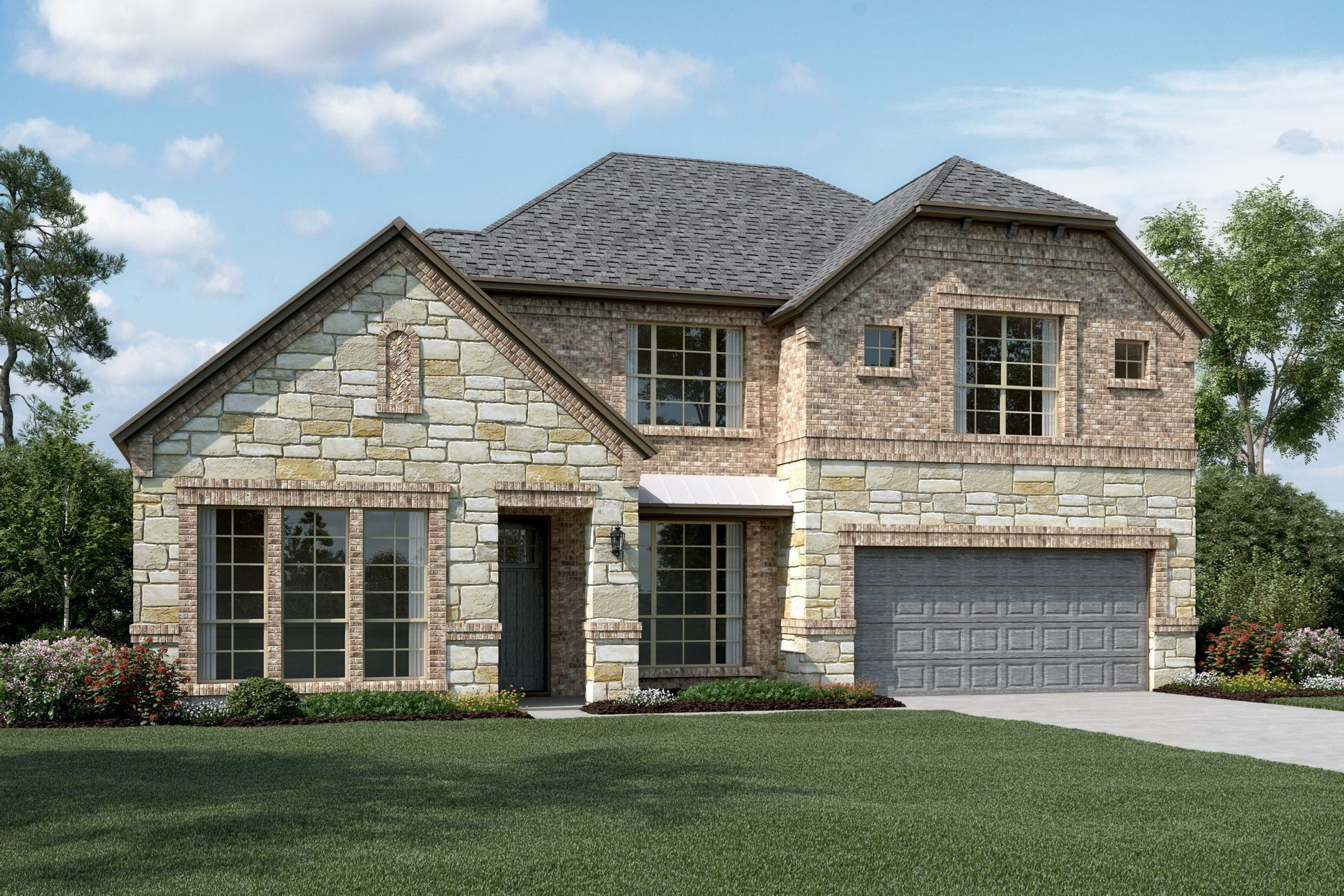 Exterior:Hillcrest IV - C - Optional stone and metal roof