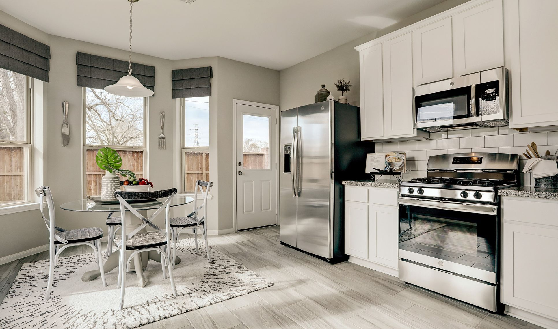 Interior:Kitchen open to dining area