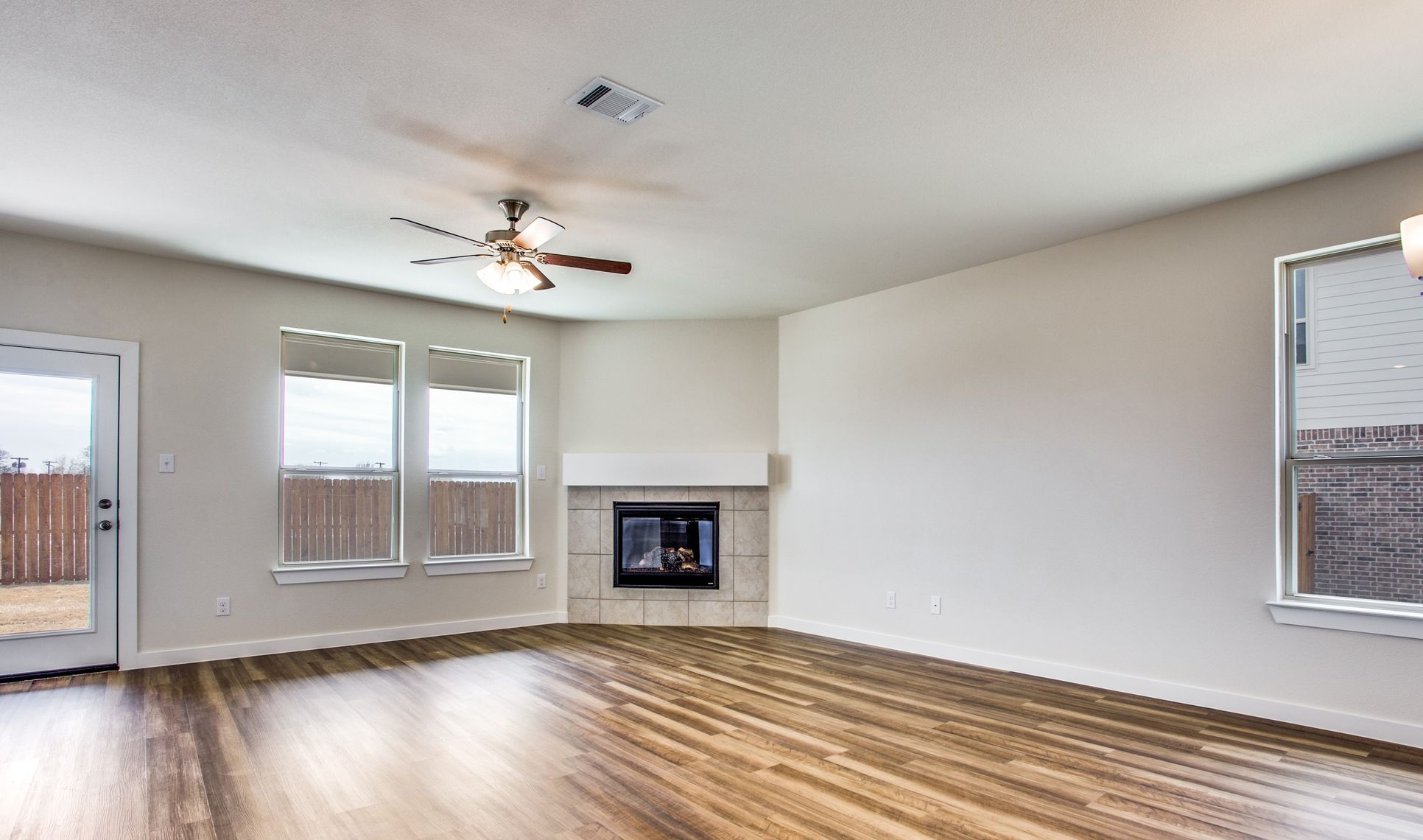 Interior:Great room with optional fireplace