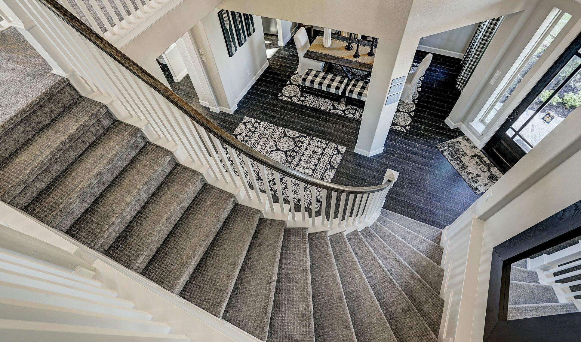 Interior:Sweeping curved staircase