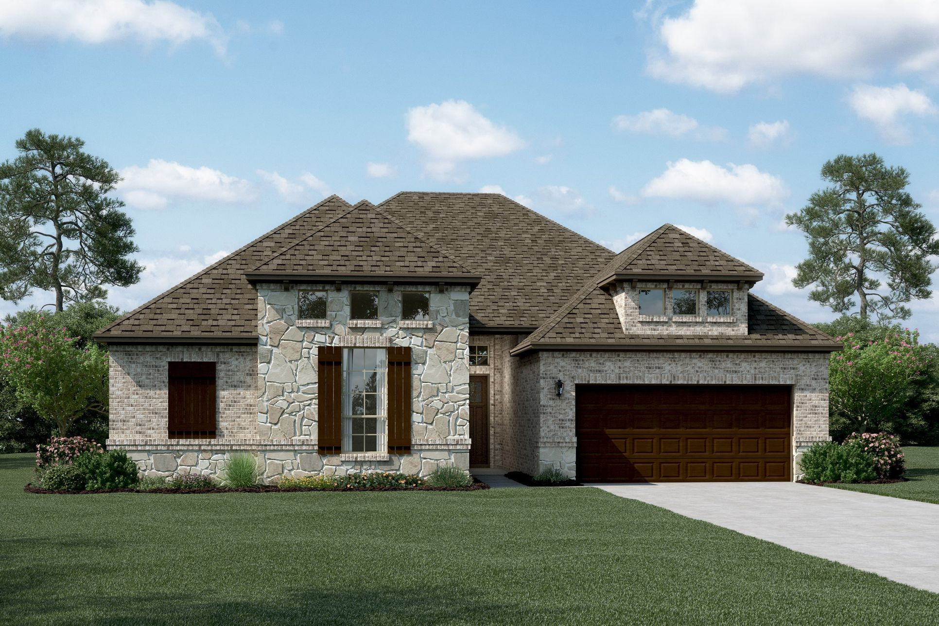 Exterior:Chandler II - D - Shown with stone