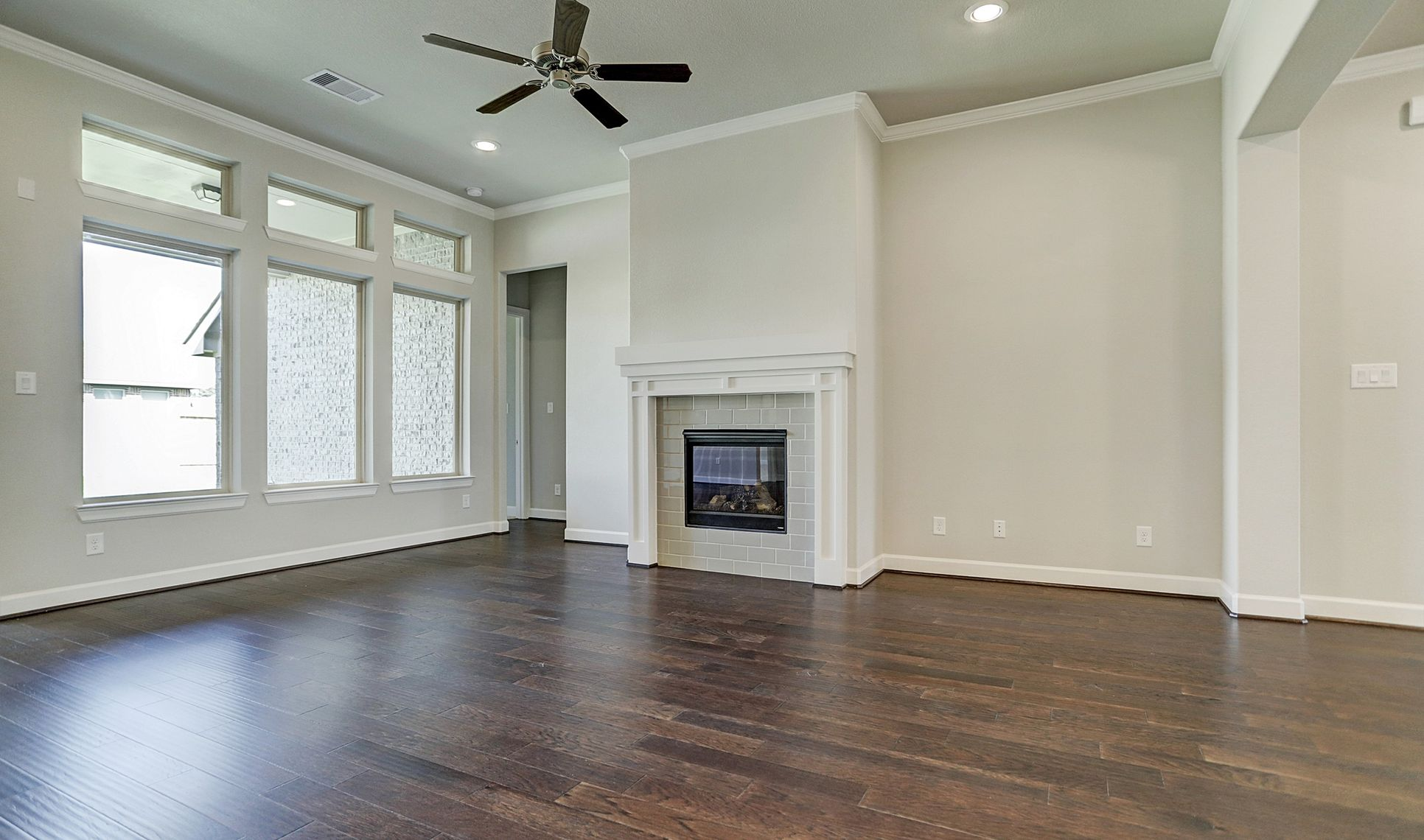 Interior:Charming fireplace in great room