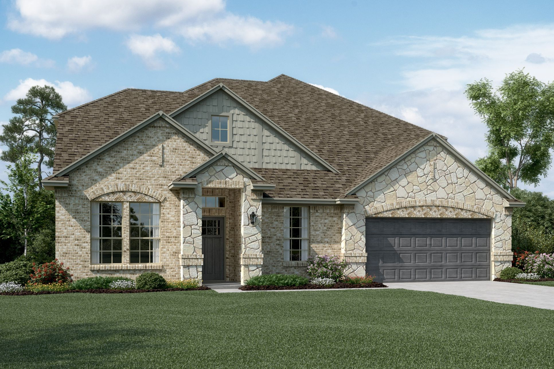 Exterior:Westchester II - C - Shown with stone