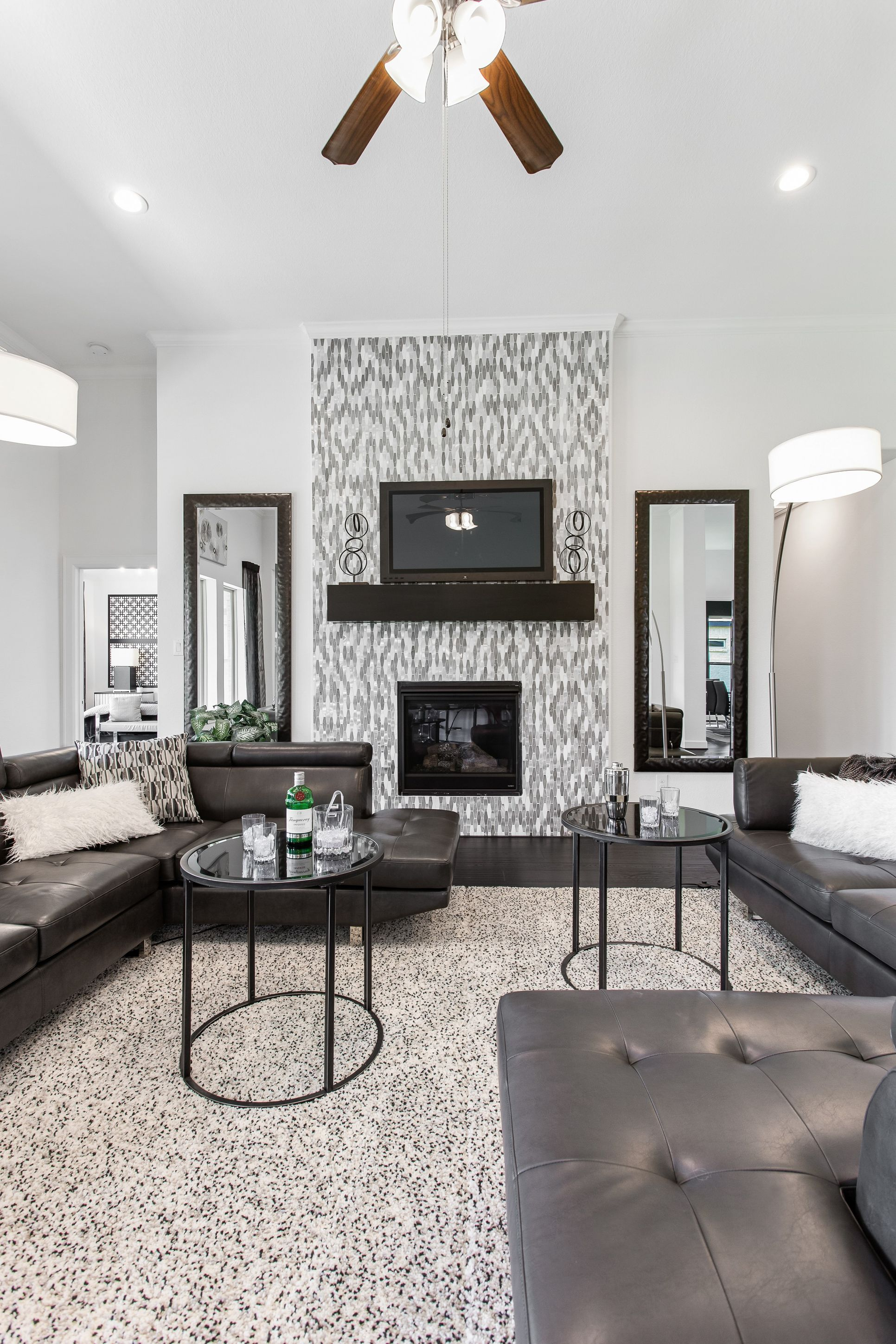 Interior:Great room with fireplace