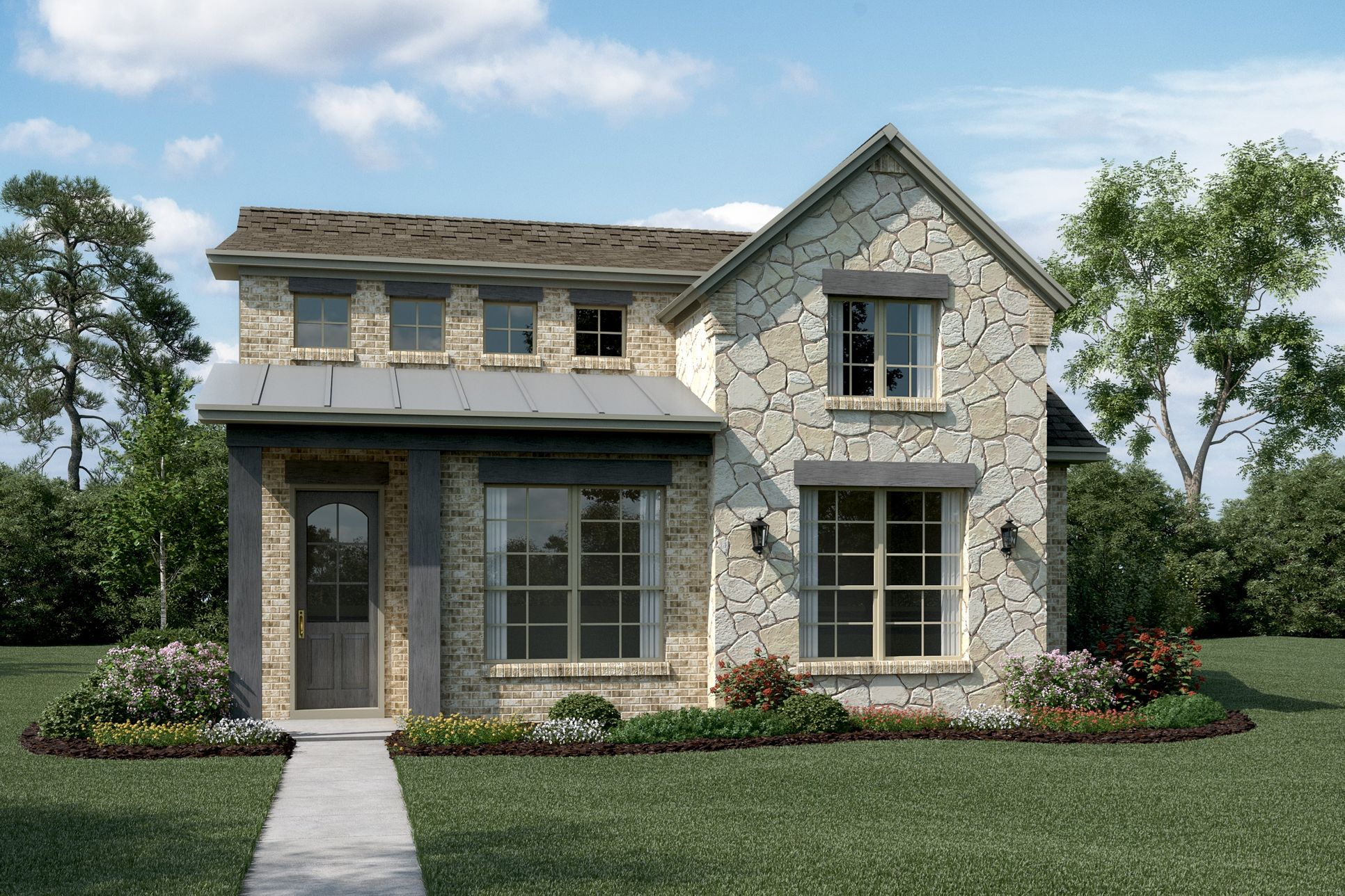 Exterior:Stratton - T - With optional stone & metal roof