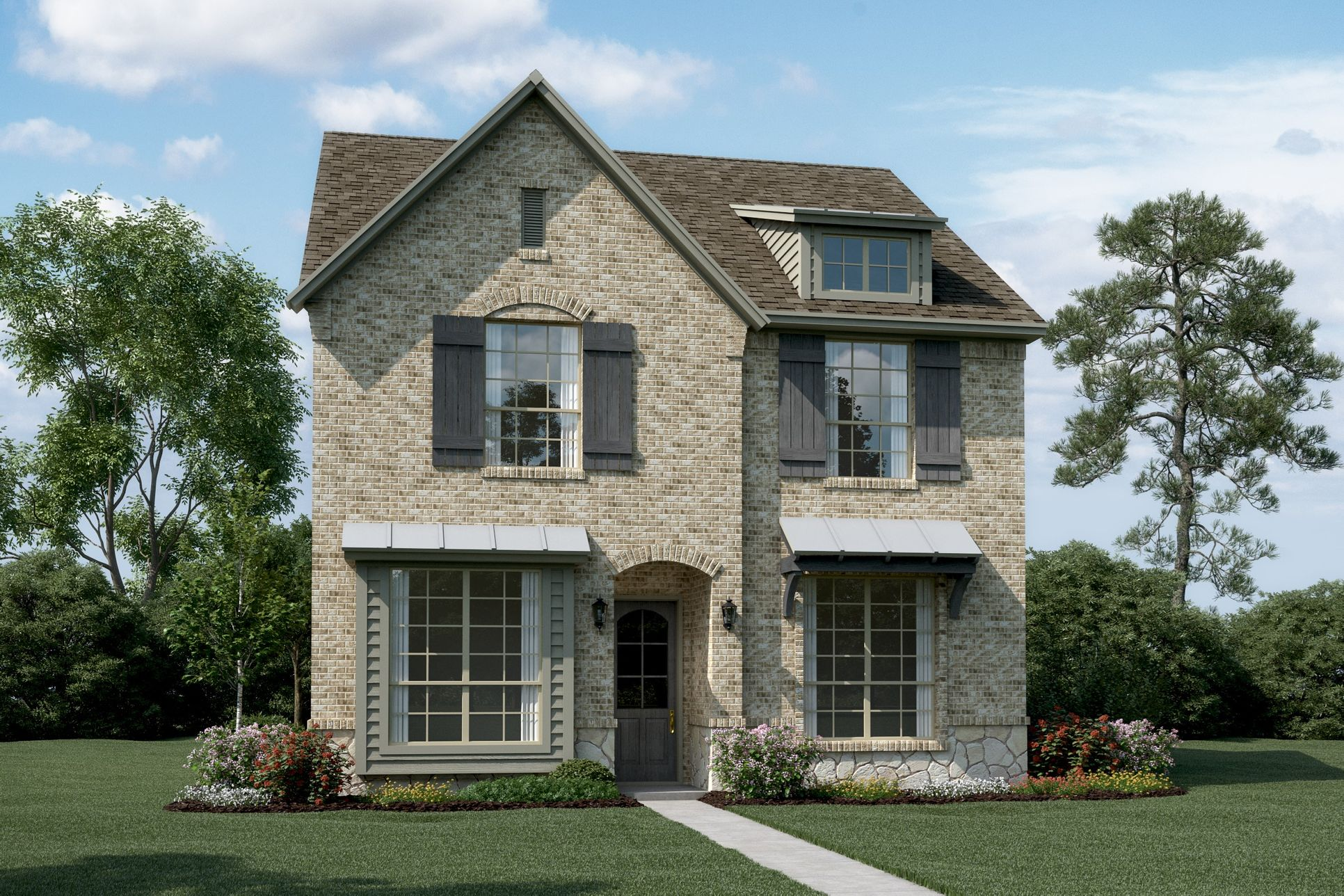 Exterior:Springdale - T - Shown with optional stone & metal roof
