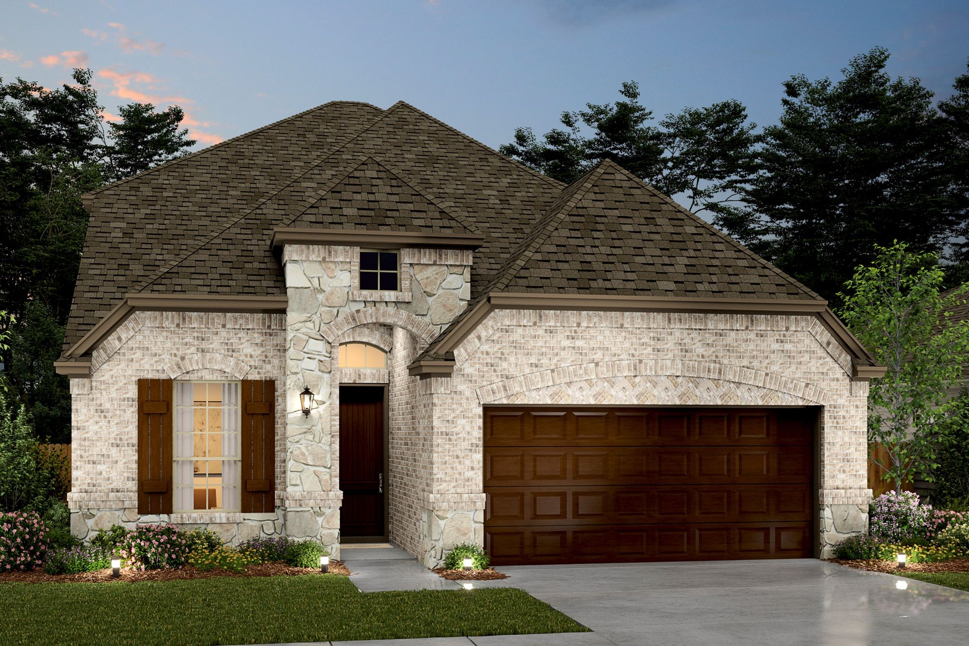 Exterior:Waverly VIII - D - Shown with stone
