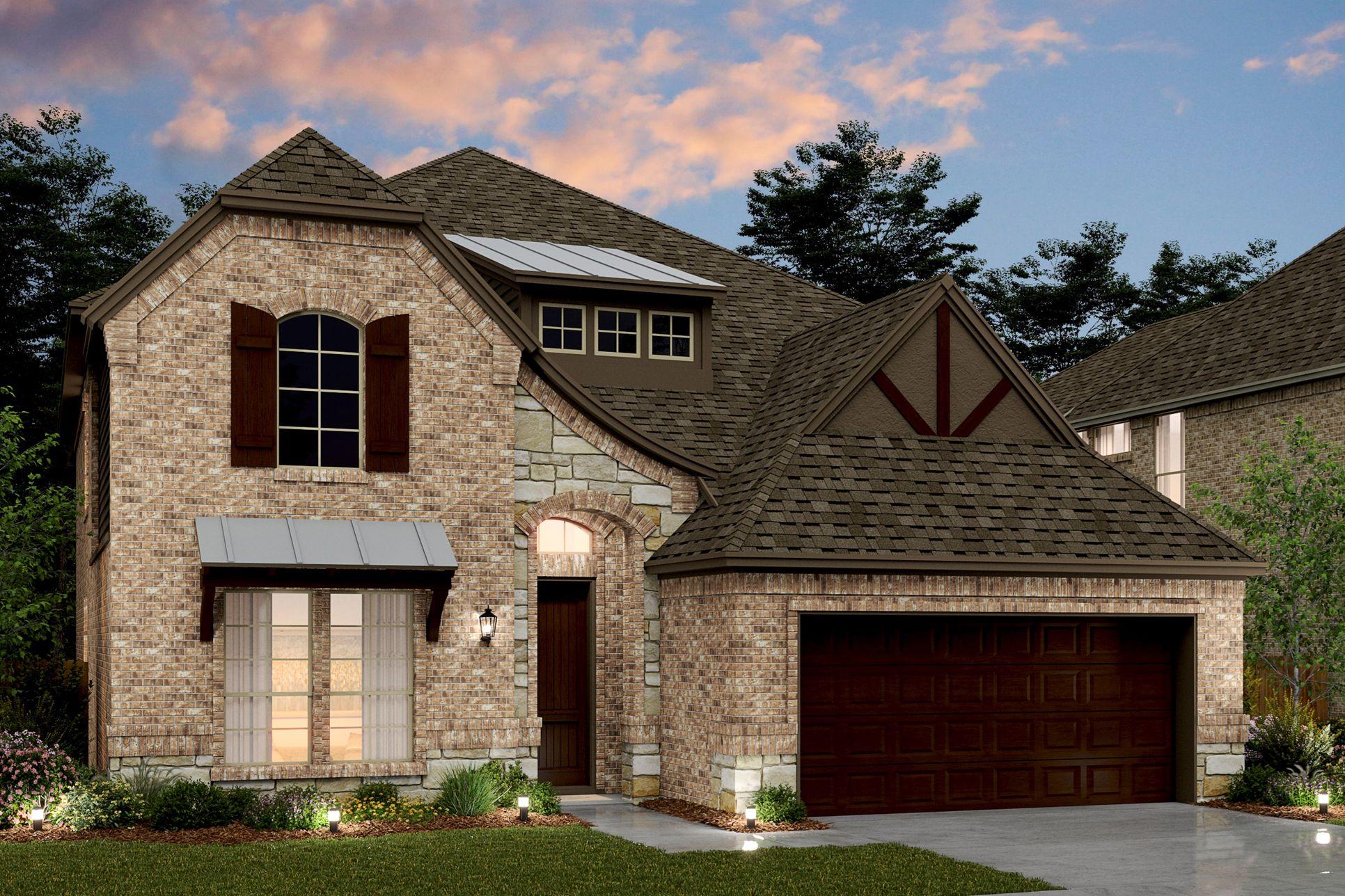 Exterior:Coronado VIII - D - Opt stone & metal roof