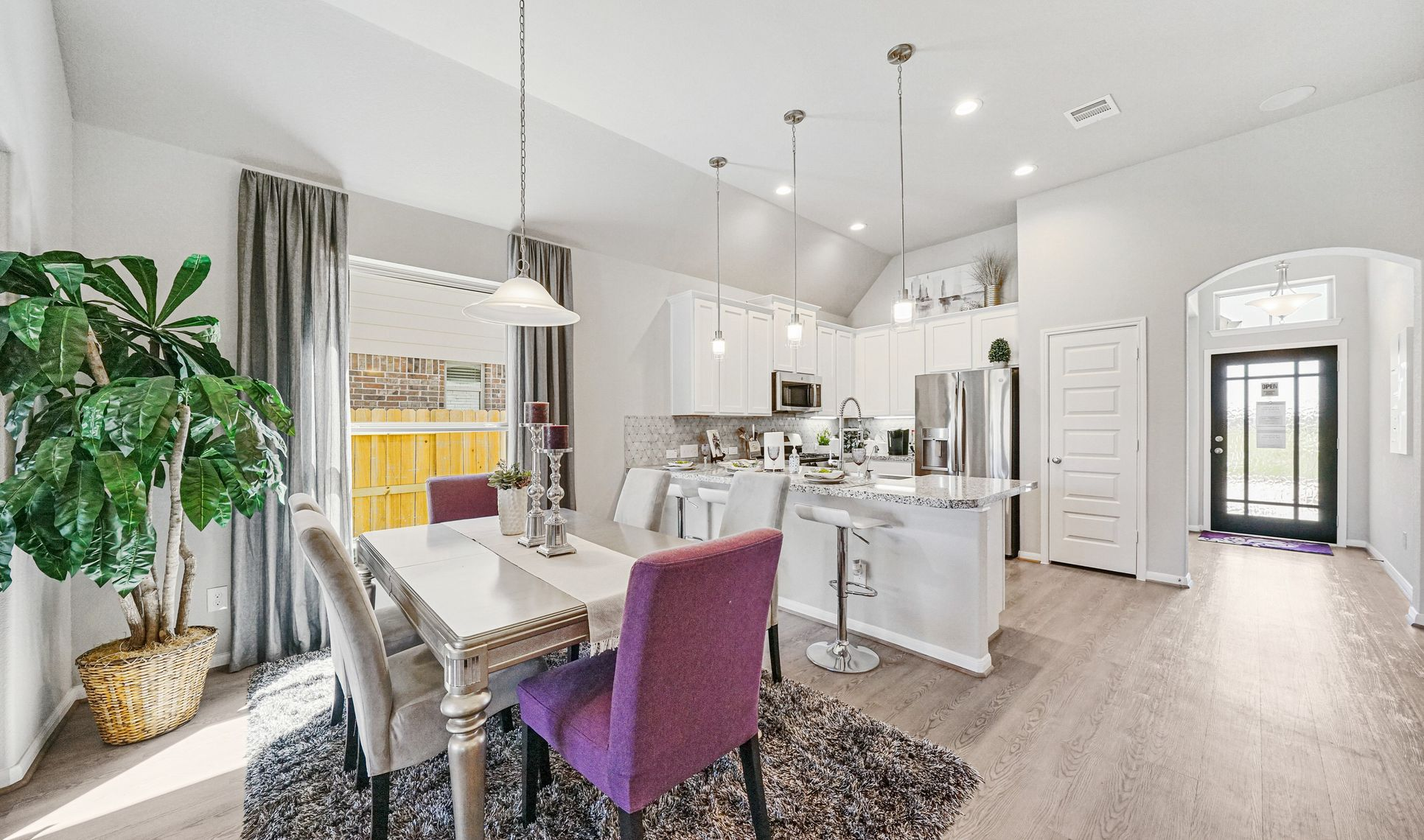 Interior:Dining area is open to the kitchen