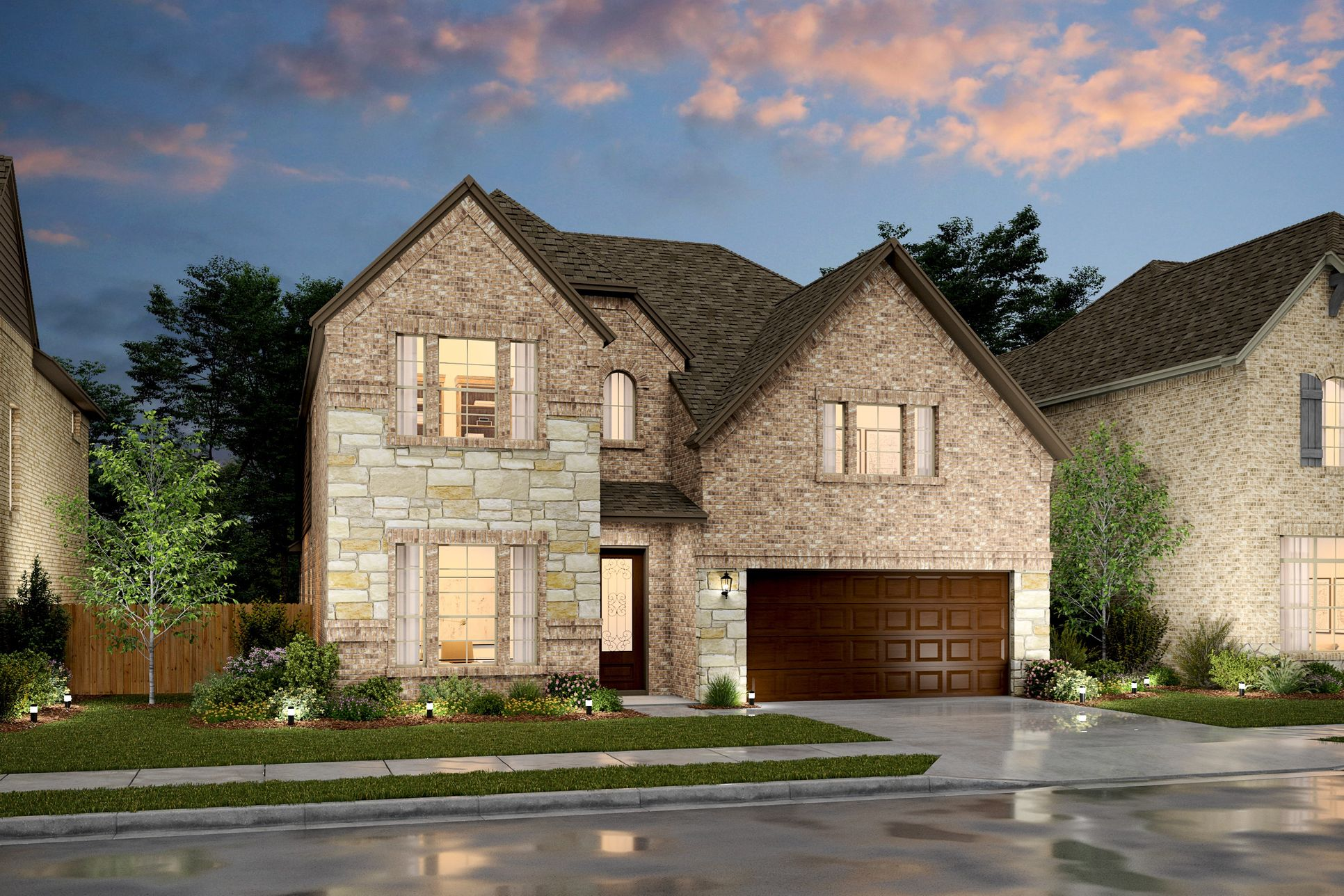 Exterior:Lynbrook IV - E - Shown with stone