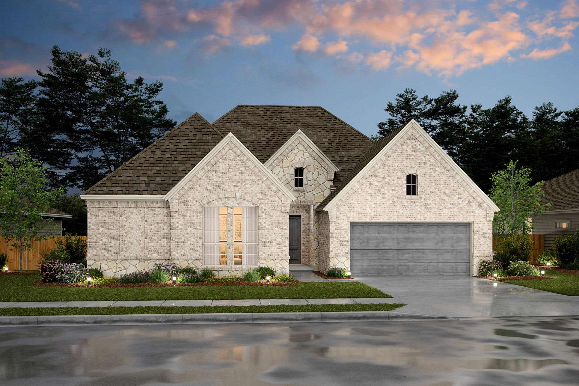 Exterior:Chandler VIII - E - Shown with stone