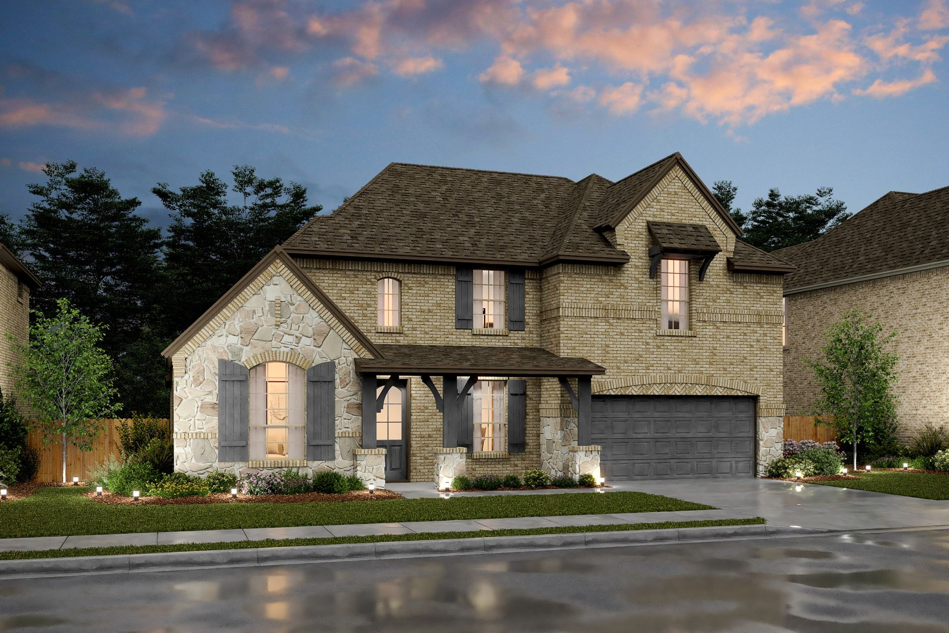 Exterior:Hillcrest VIII - E - Shown with stone