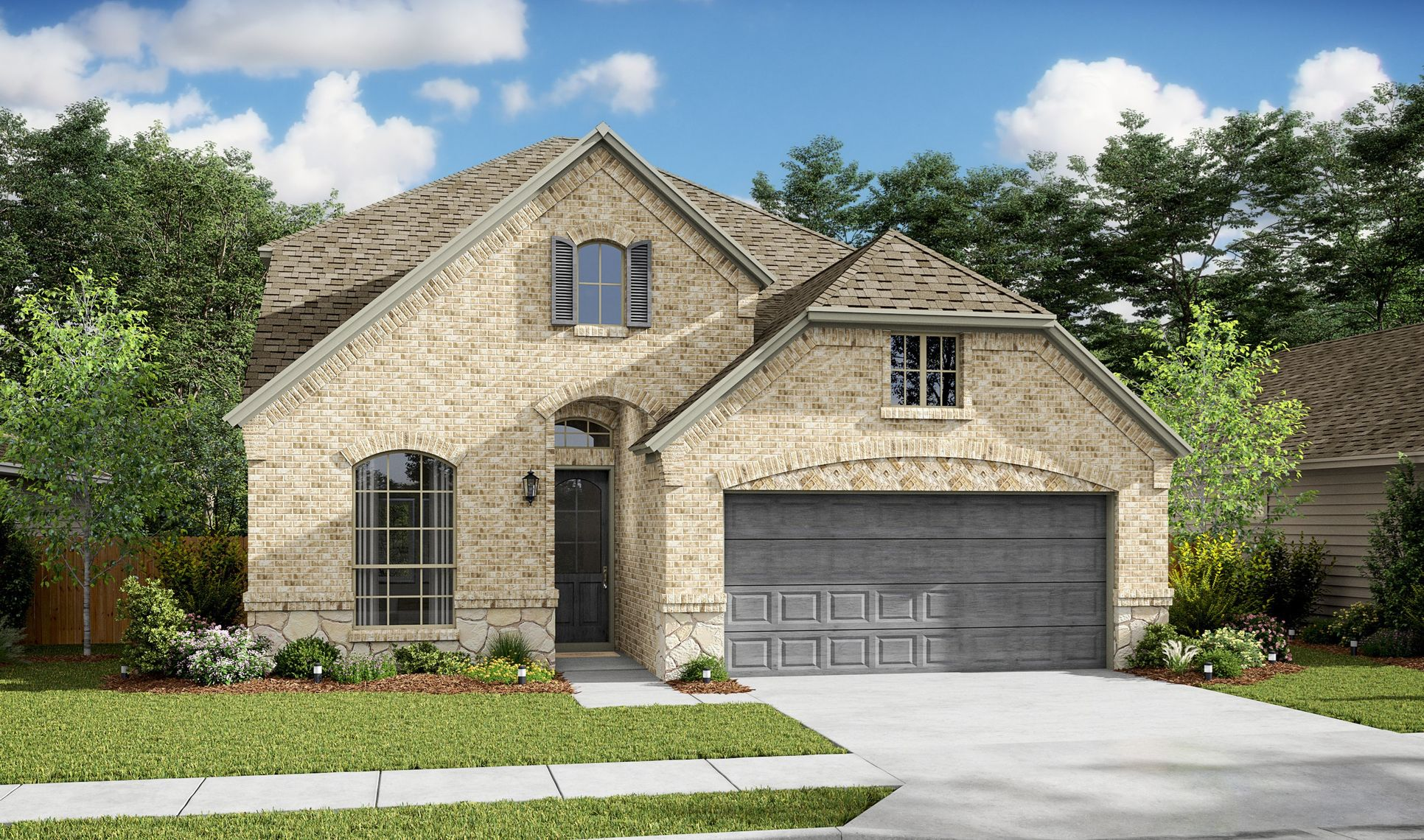 Exterior:Waverly VIII - C - Shown with stone