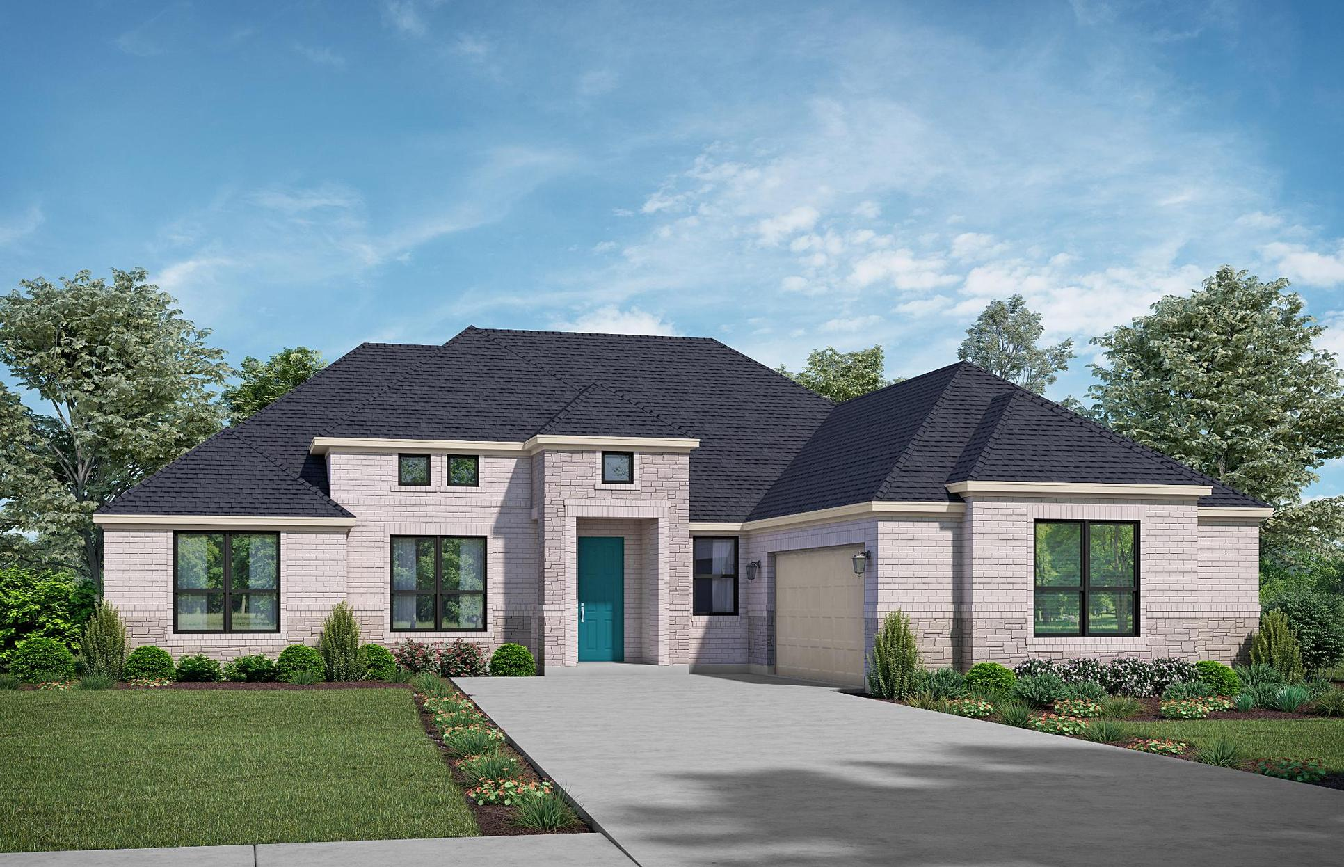 The Lodge - Elevation A + Stone. Images are artist renderings and will differ from the actual hom...:Elevation A + Stone