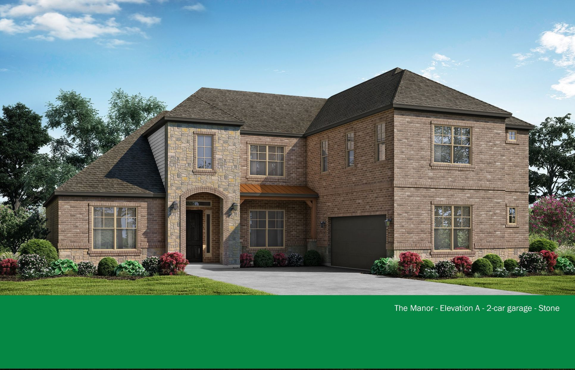 The Manor - Elevation A - 2-car garage - Stone. Images are artist renderings and will differ from...:Elevation A + Stone