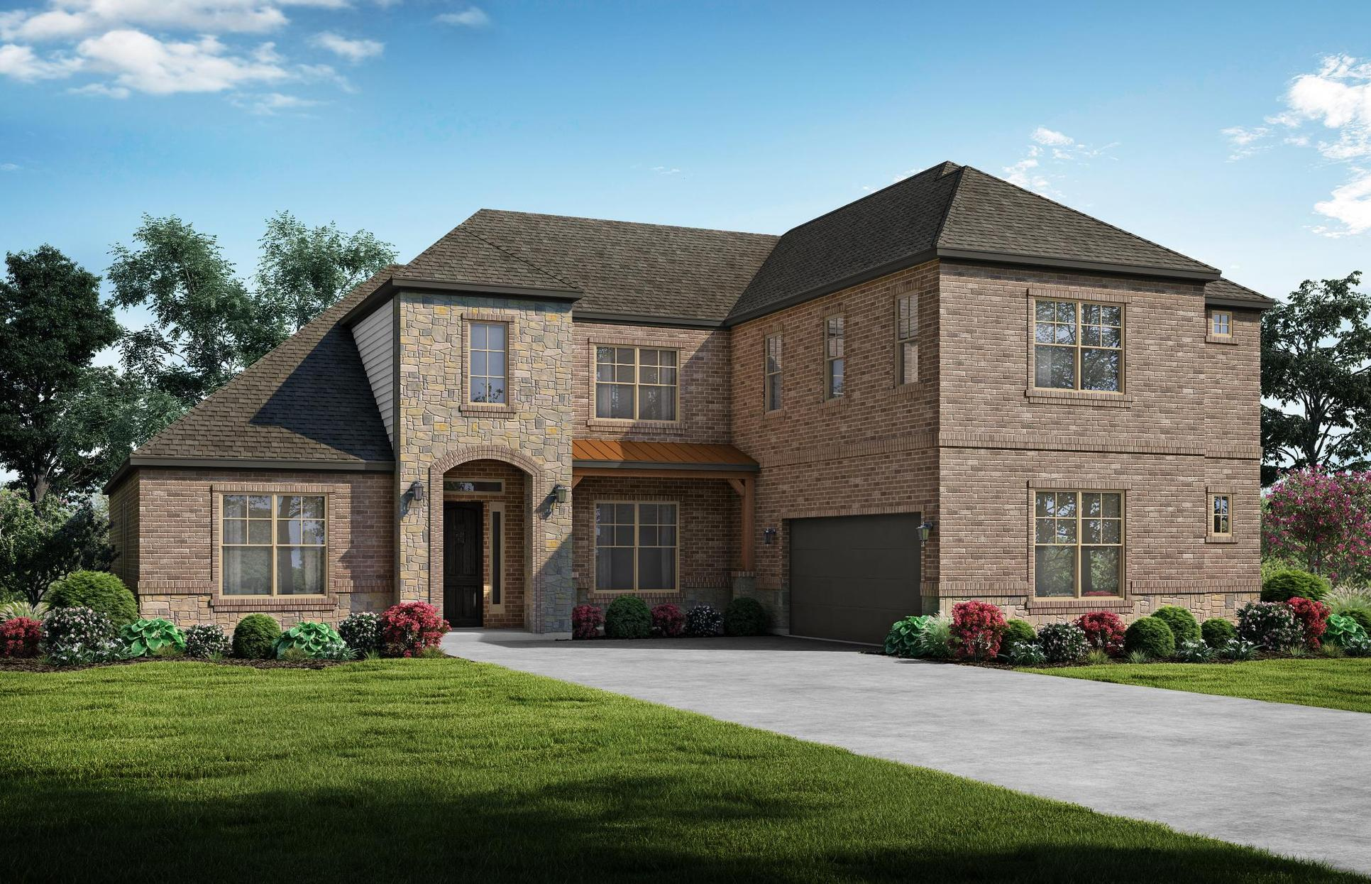 The Manor - Elevation A + Stone. Images are artist renderings and will differ from the actual hom...:The Manor - Elevation A + Stone