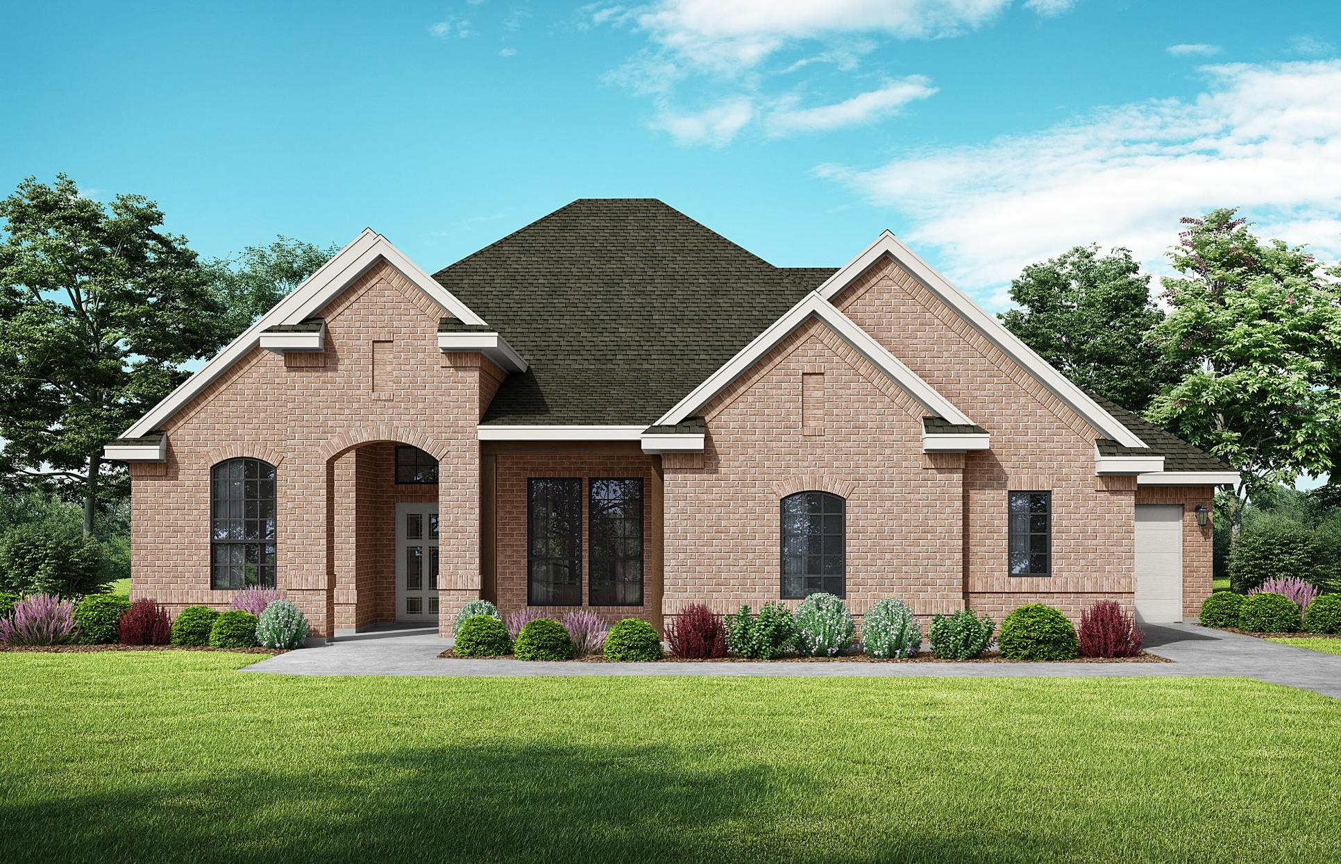 Laurel - Elevation A. Images are artist renderings and will differ from the actual home built.:Elevation A