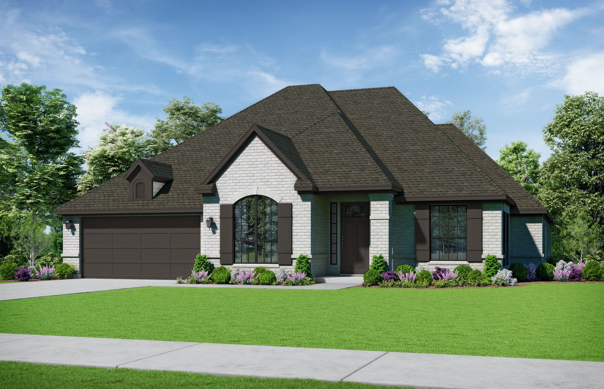 The Oakmont Elevation A. Images are artist renderings and will differ from the actual home built.:The Oakmont Elevation A