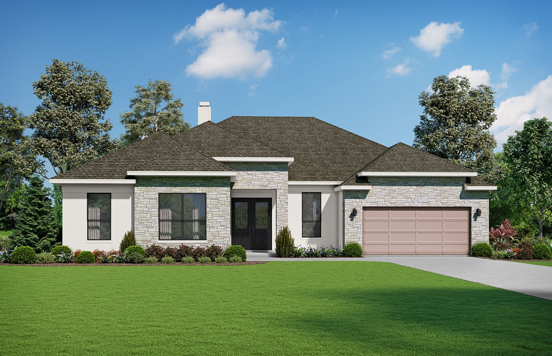 The Andross Elevation T. Images are artist renderings and will differ from the actual home built.:The Andross Elevation T